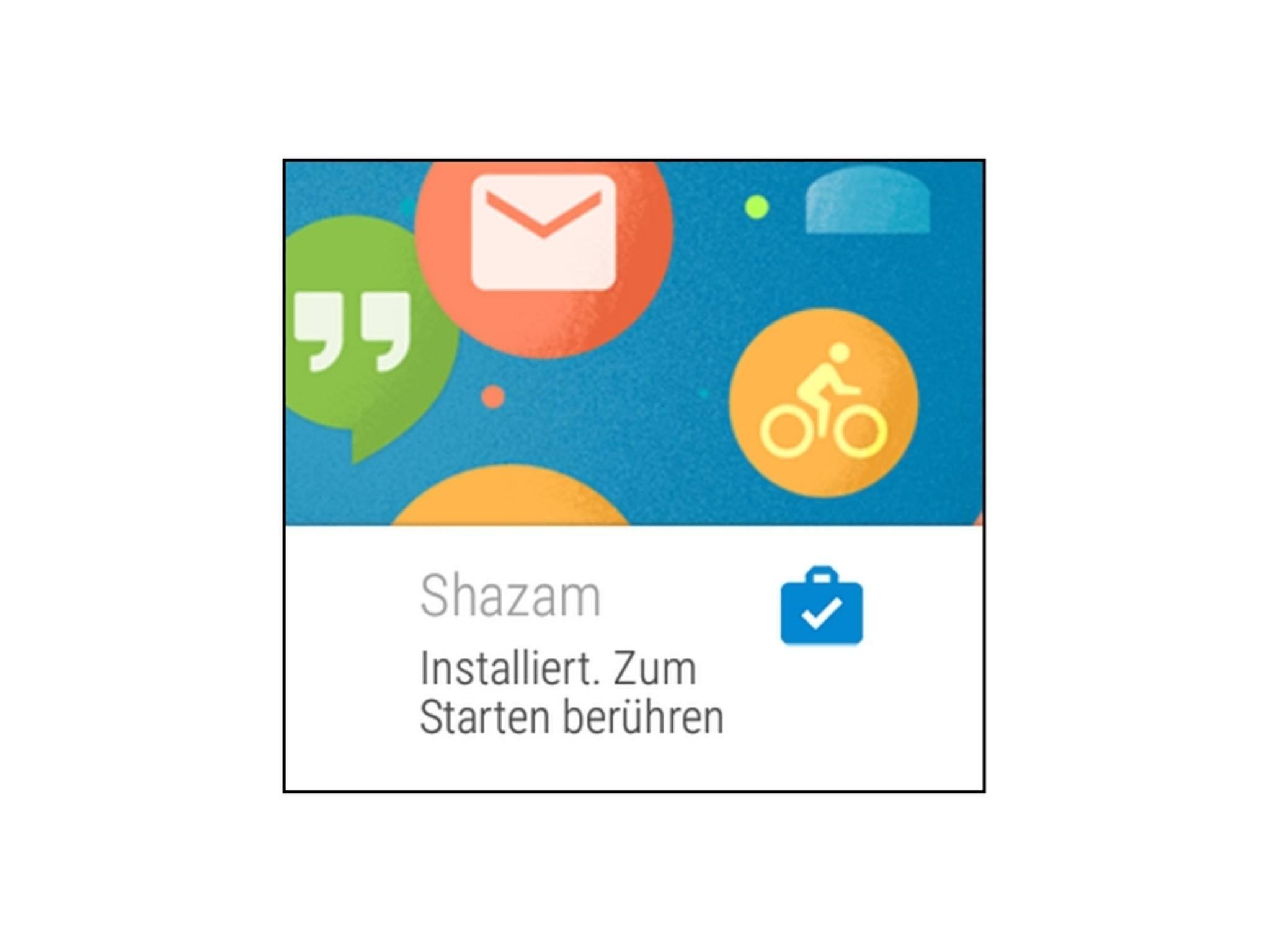 Nach der erfolgreichen Installation erscheint eine Nachricht auf der Smartwatch.