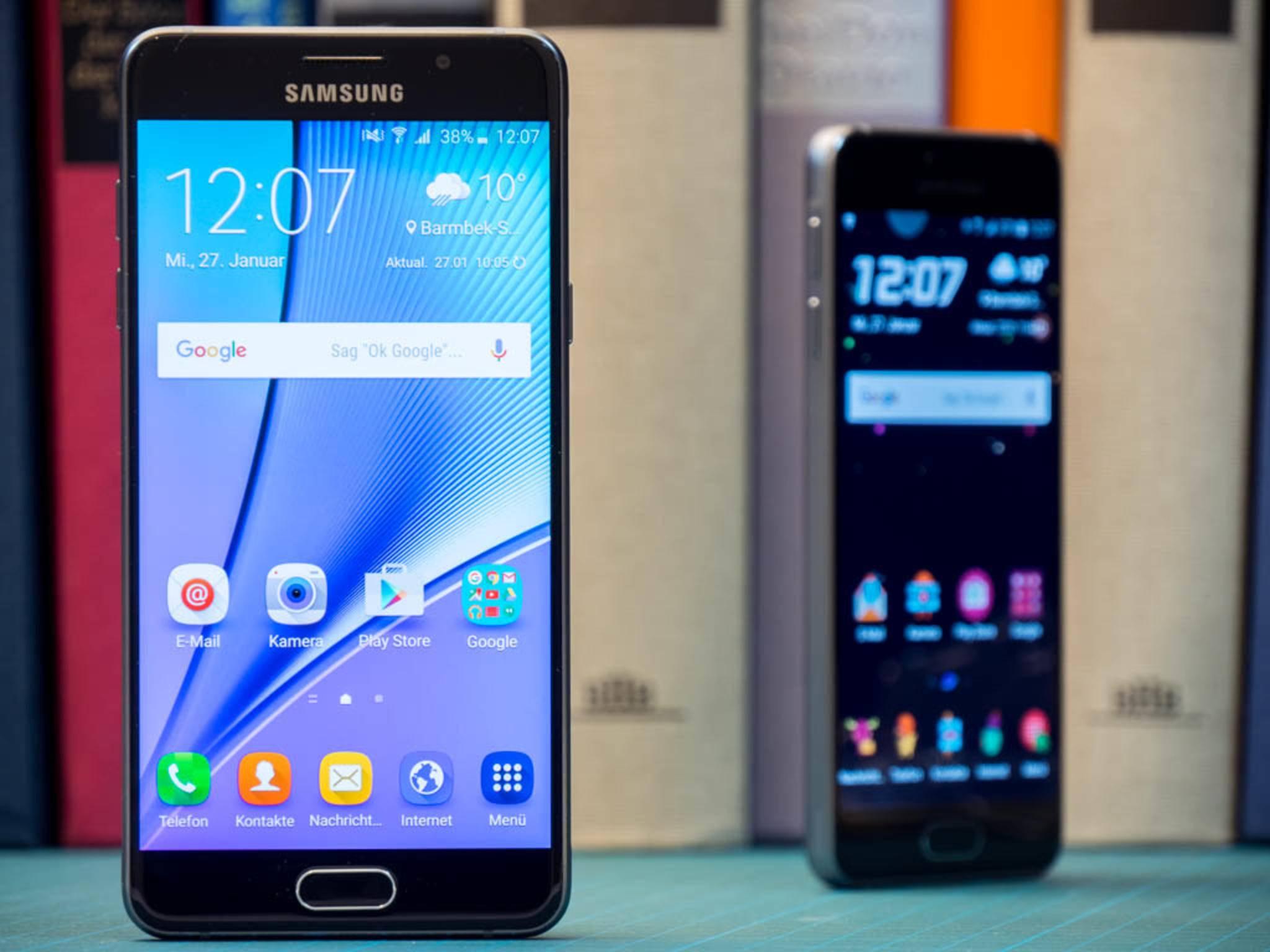 Beim Galaxy A5 werden 5,2 Zoll und Full HD-Auflösung geboten.