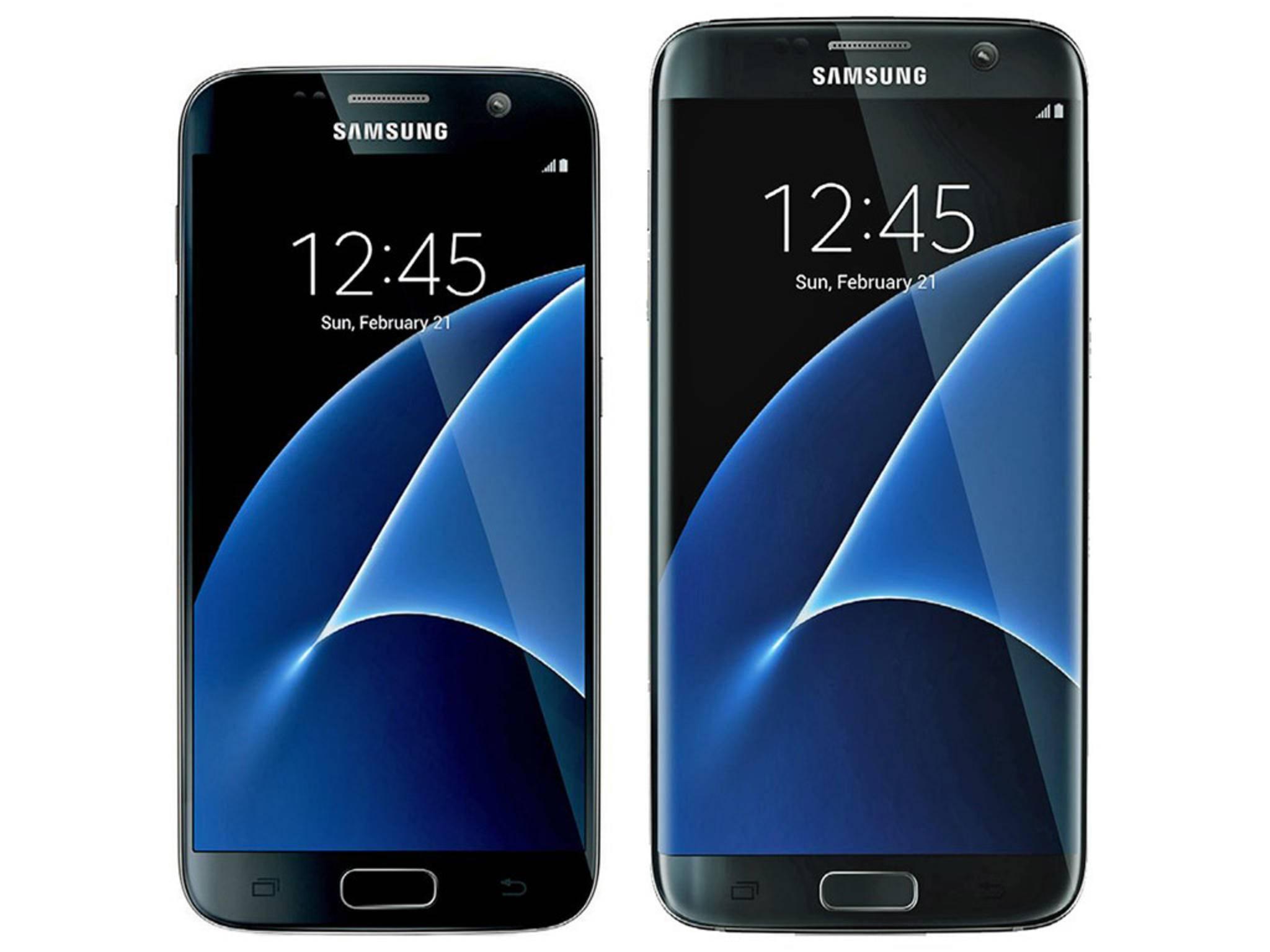 Links das Galaxy S7 mit 5,1 Zoll und rechts das Galaxy S7 edge mit 5,5 Zoll-Bildschirm.