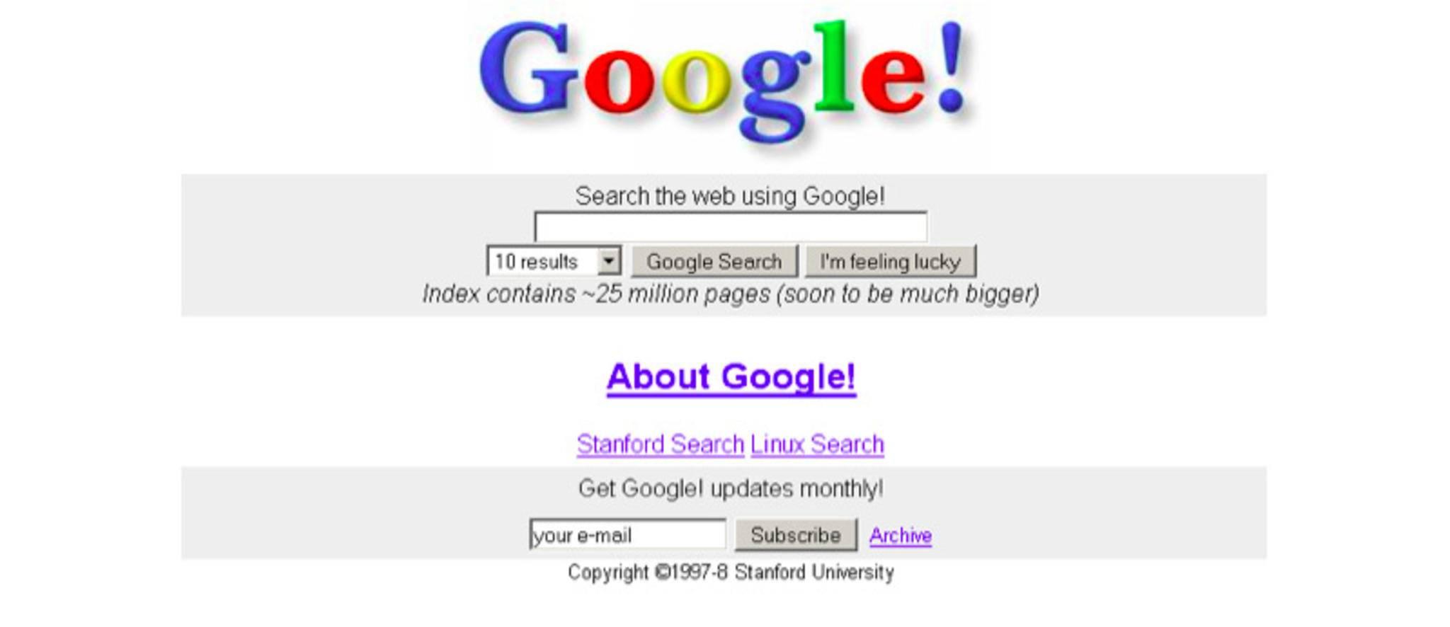 Googles Suche war 1998 etwas überladener als heutzutage.