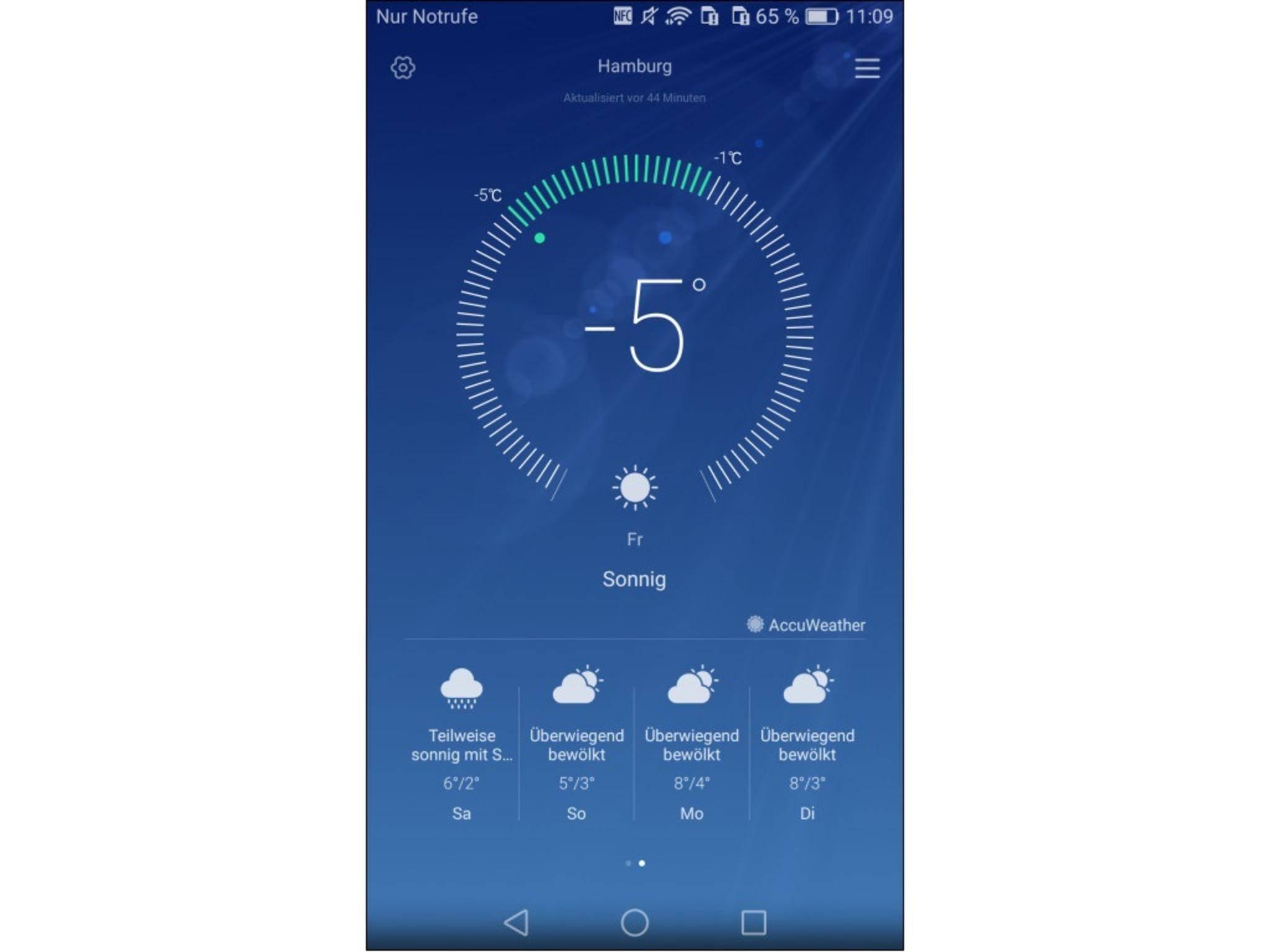 Zeige einem Kontakt mit einem Screenshot, wie kalt es bei Dir ist.