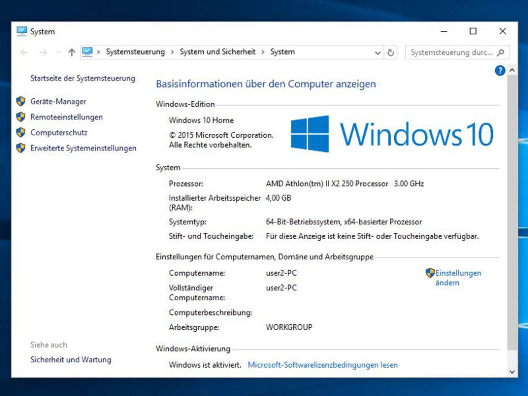 """Mit der Tastenkombination """"Windows + Pause"""" gelangst Du in dieses Menü."""