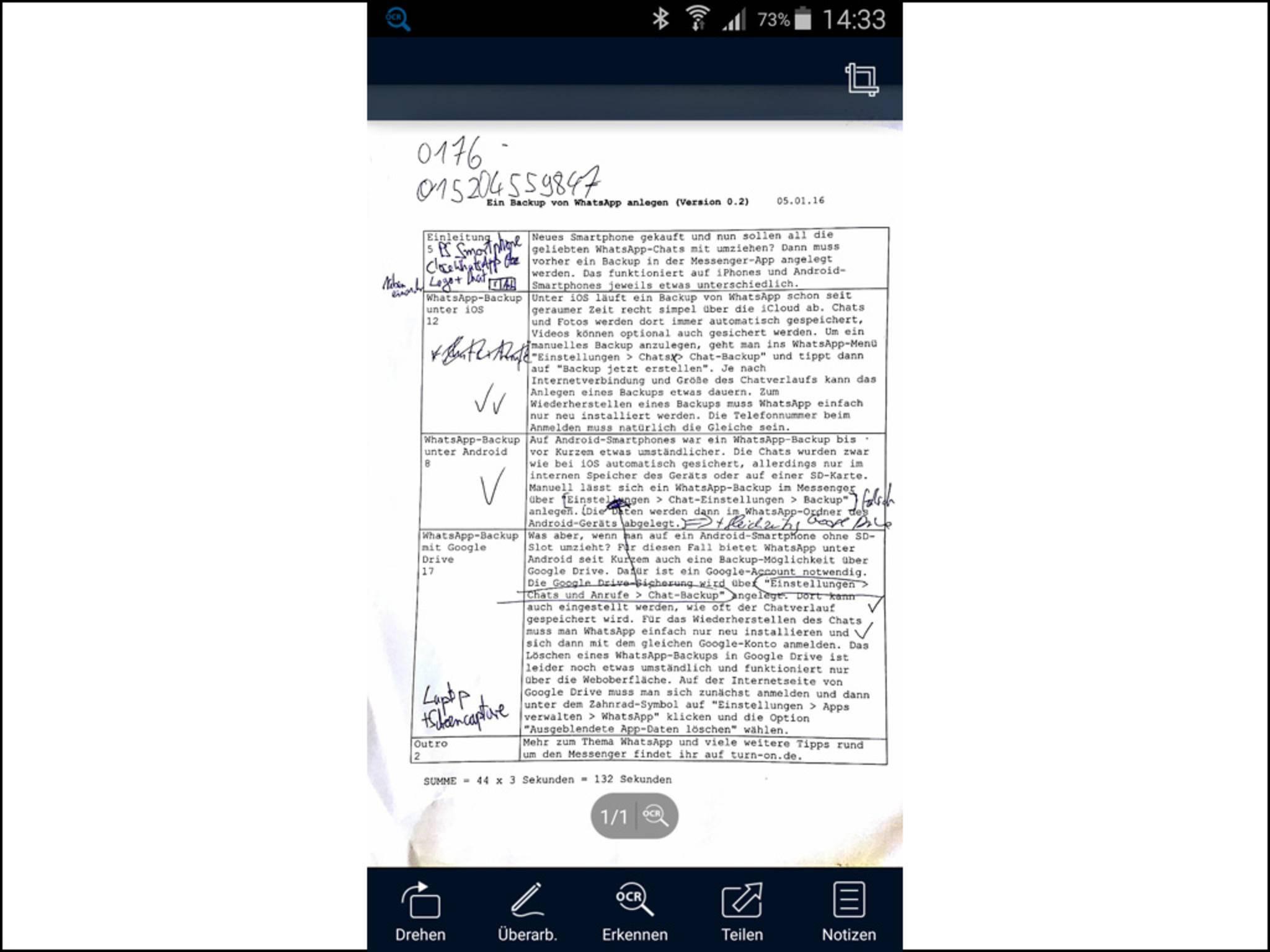 ... ausgezeichnete App, um Dokumente zu scannen ...