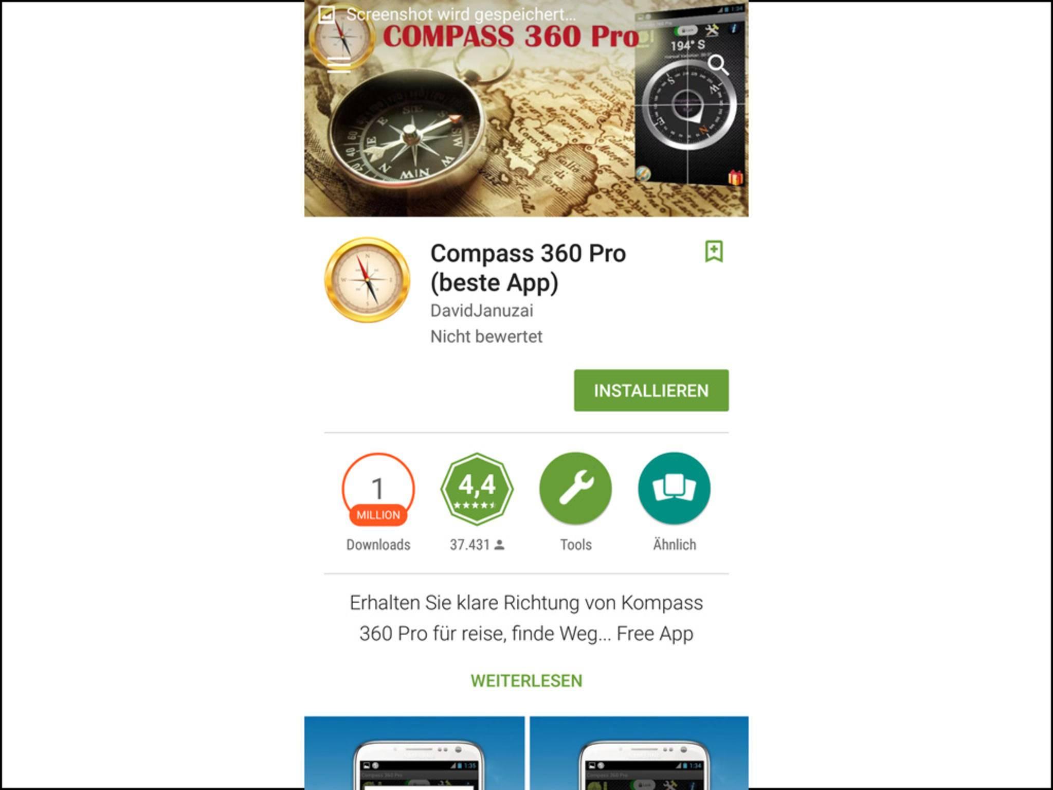 Die Kompass-App zeigt Dir ...