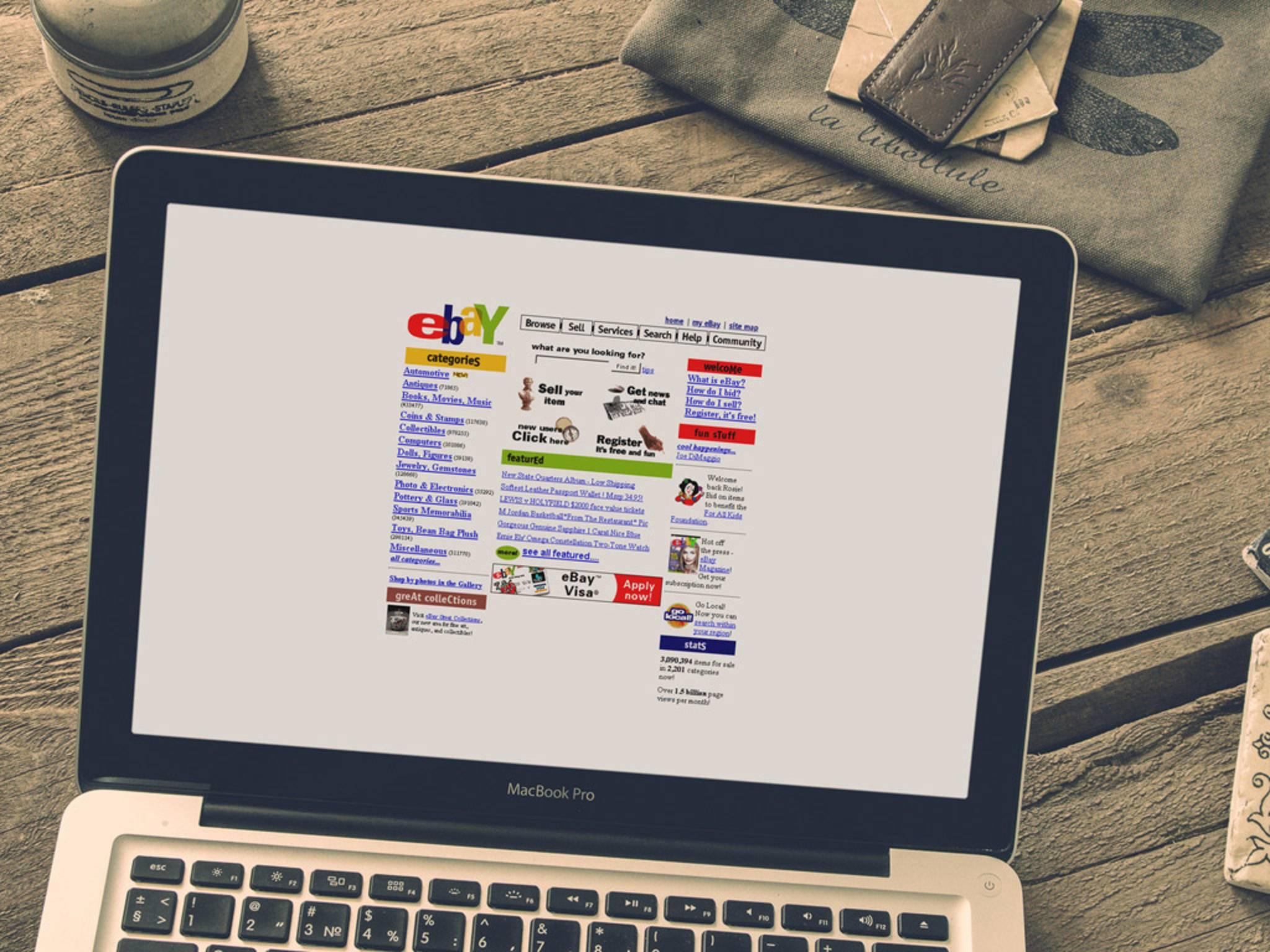 So sah die Webseite von Ebay im Jahr 1995 aus.
