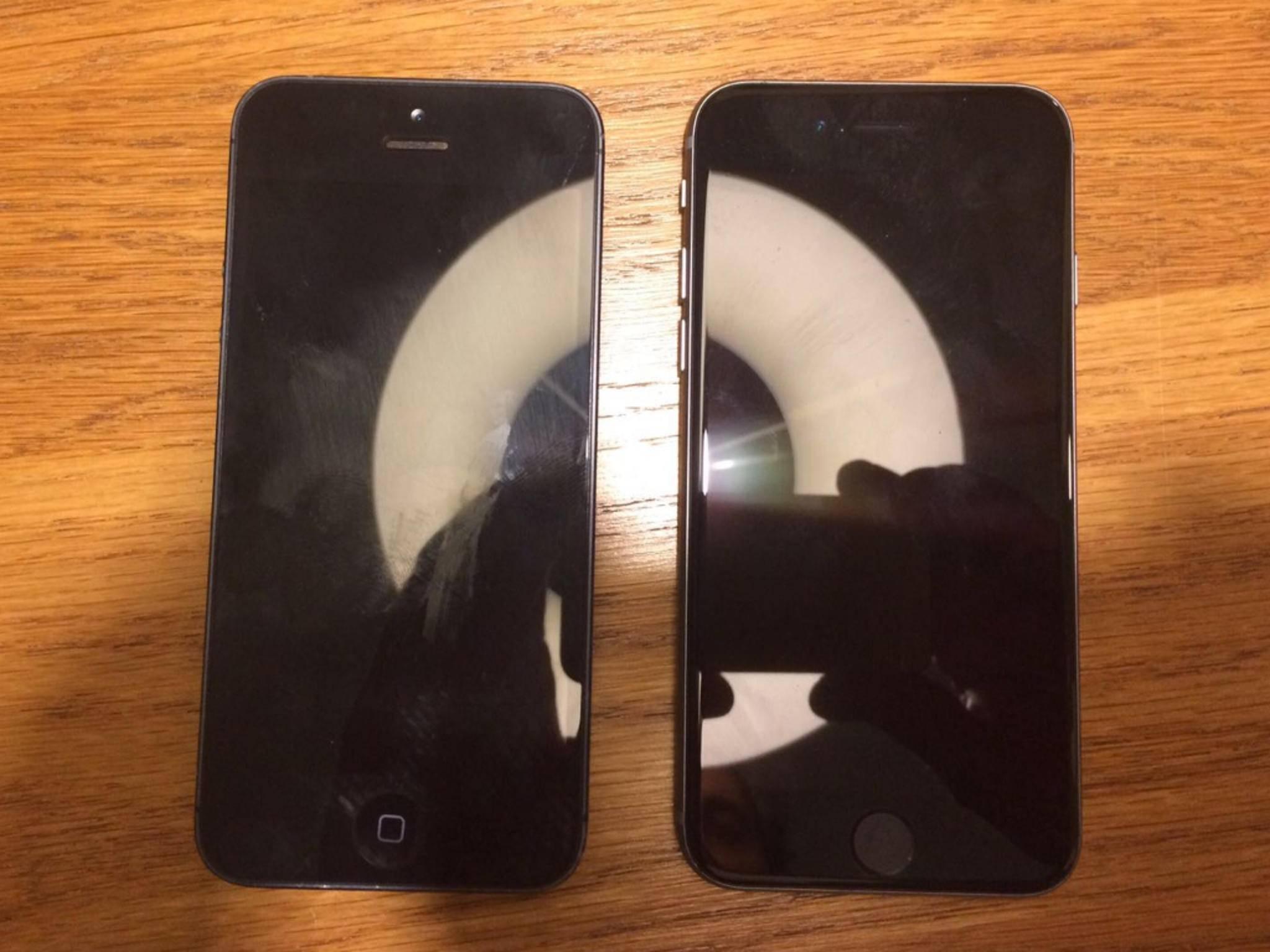 Links: Das iPhone 5, rechts angeblich das neue iPhone 5se mit Touch ID-Button.