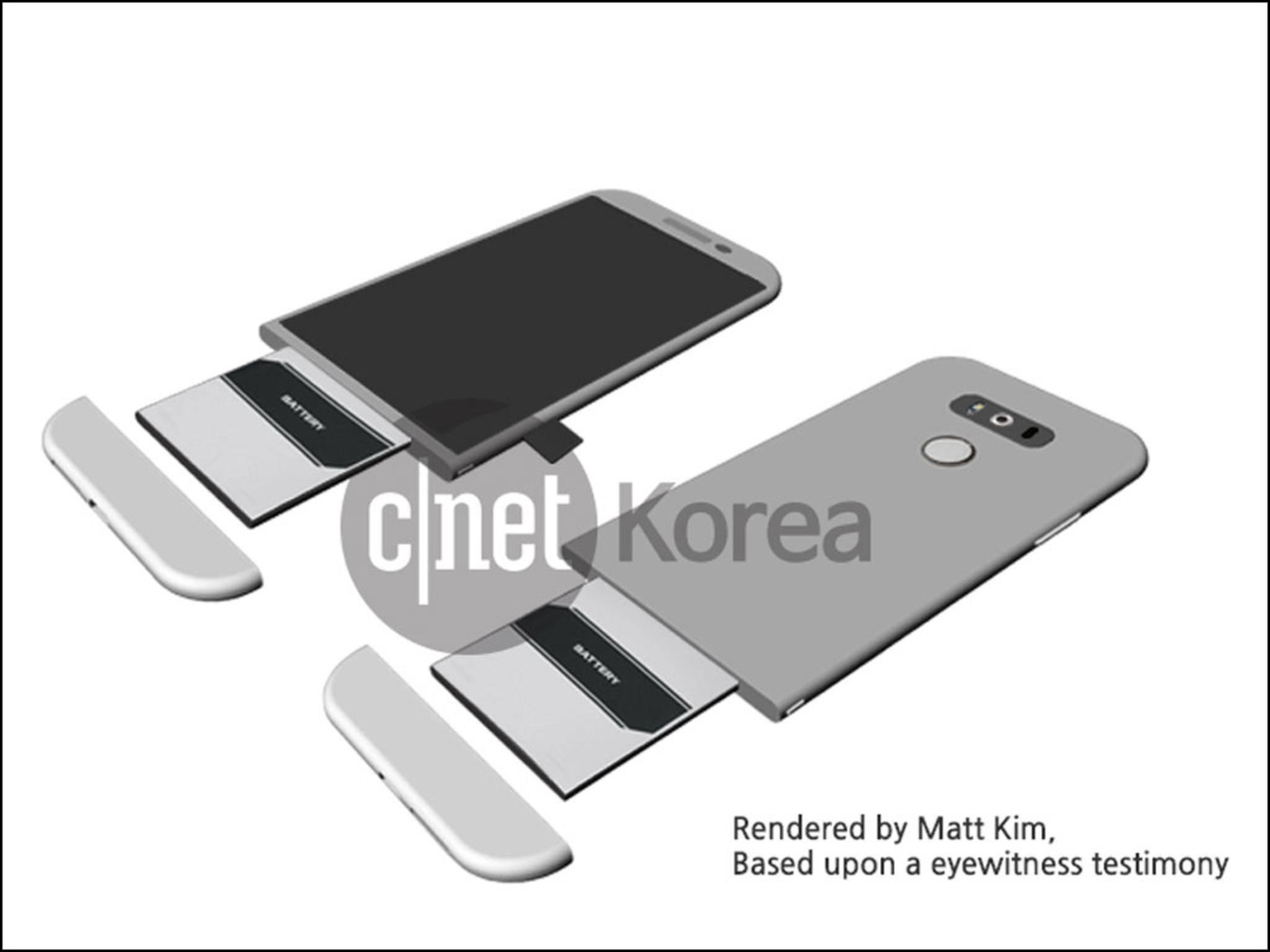 """Das LG G5 mit dem erwarteten """"Magic Slot""""."""