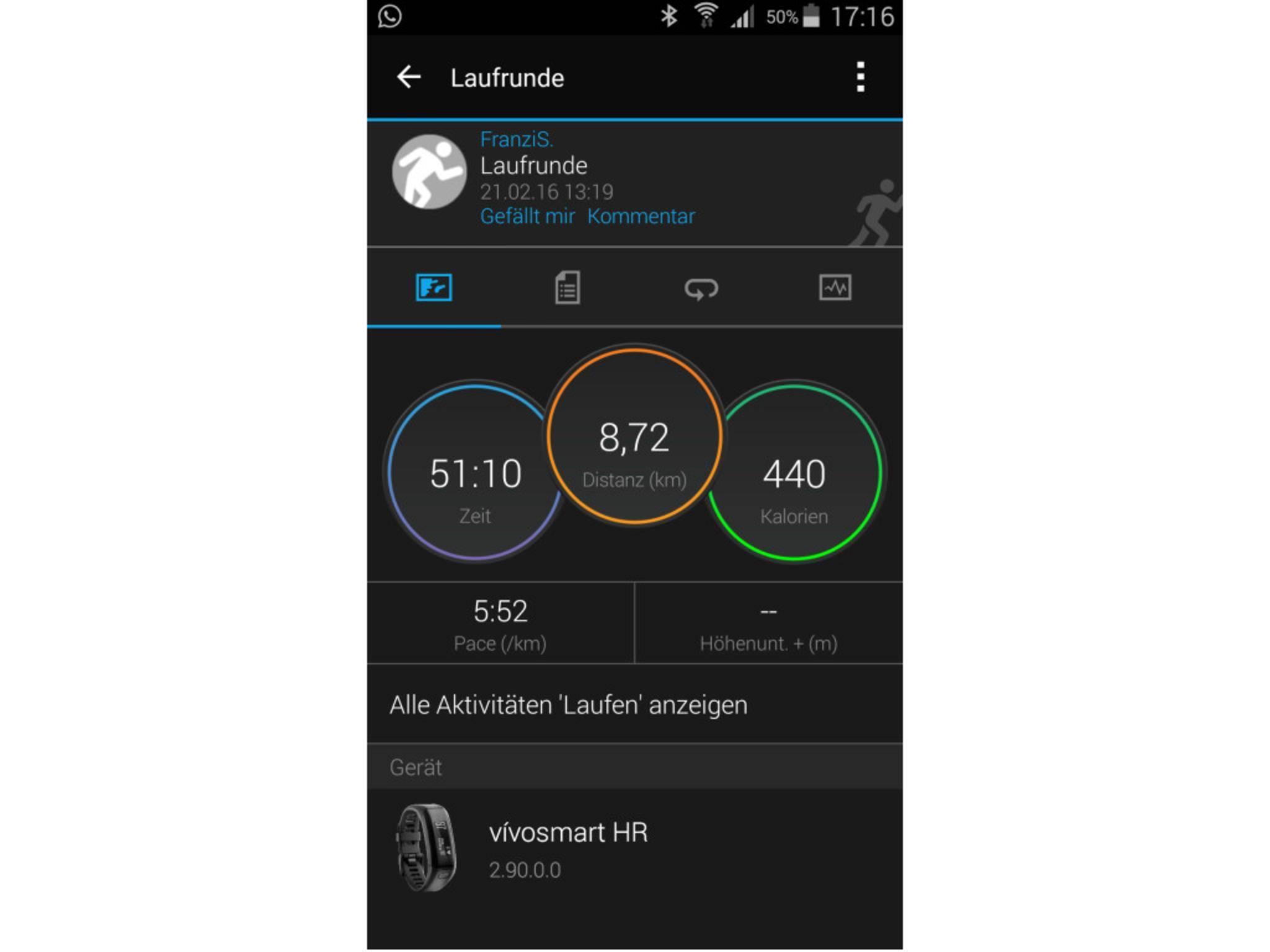 Garmin Vivosmart HR App 1