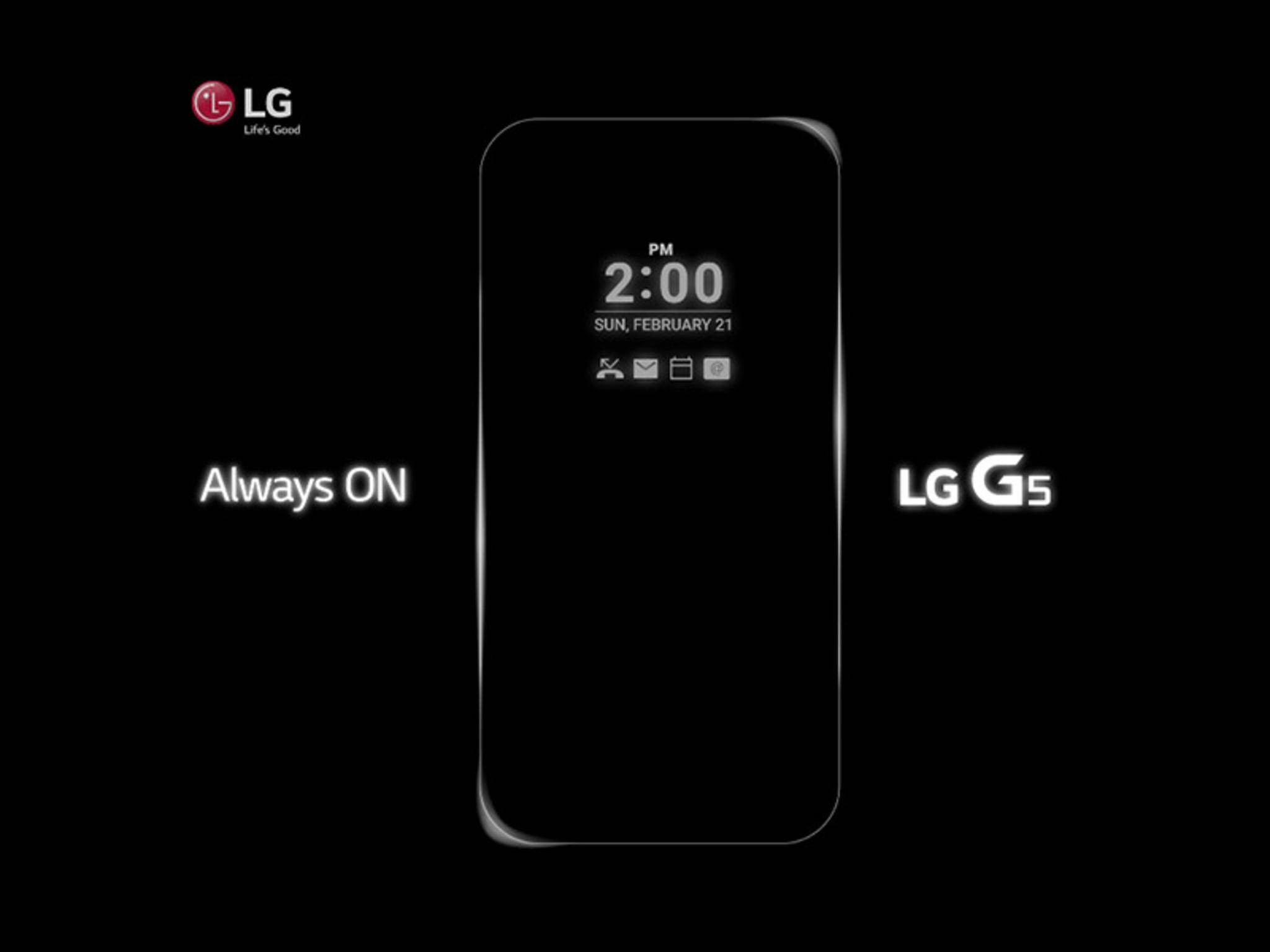 Das LG G5 besitzt ein Always-On-Display.