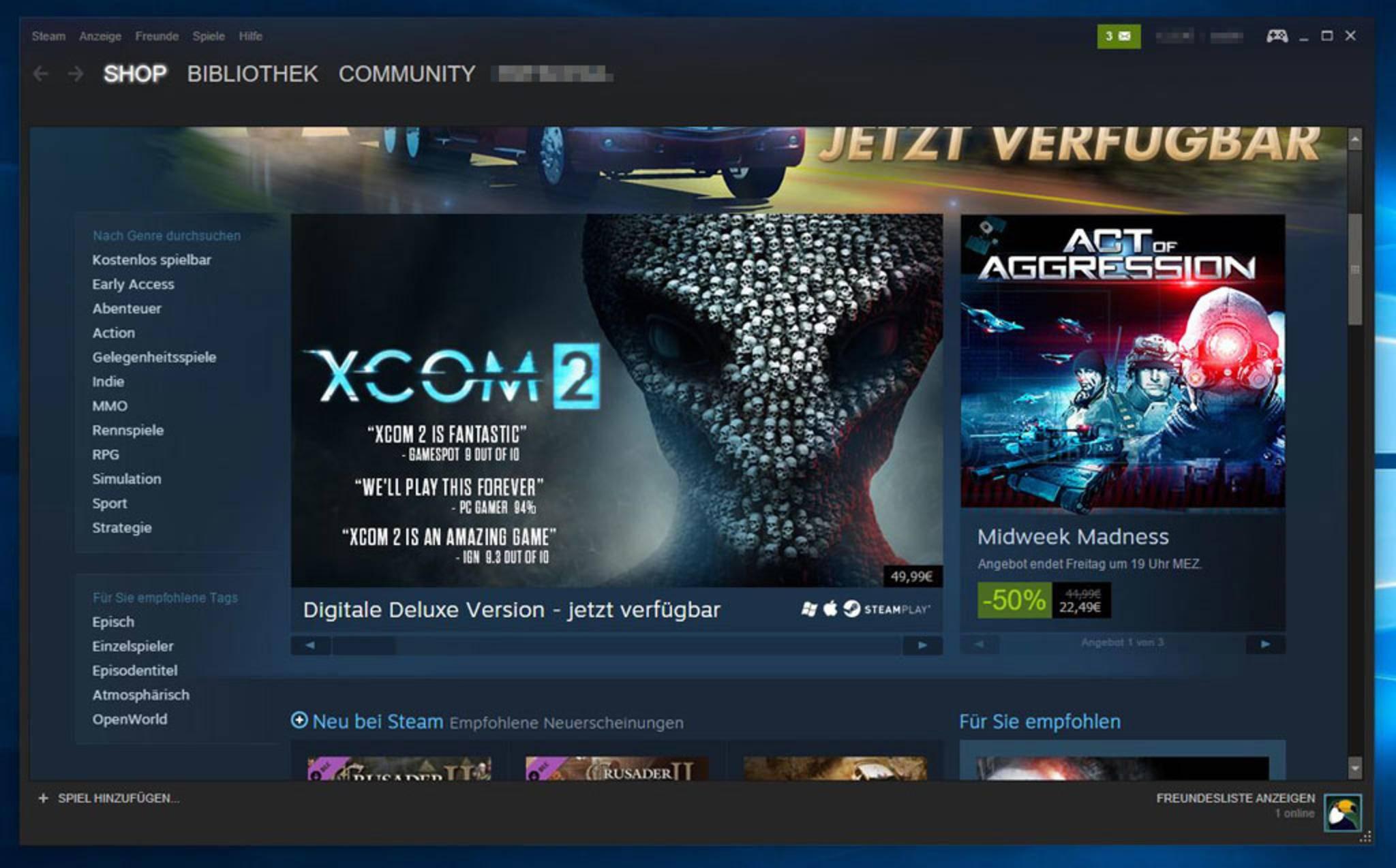 Steam ist die größte virtuelle Gaming-Plattform mit dem weitläufigsten Angebot.