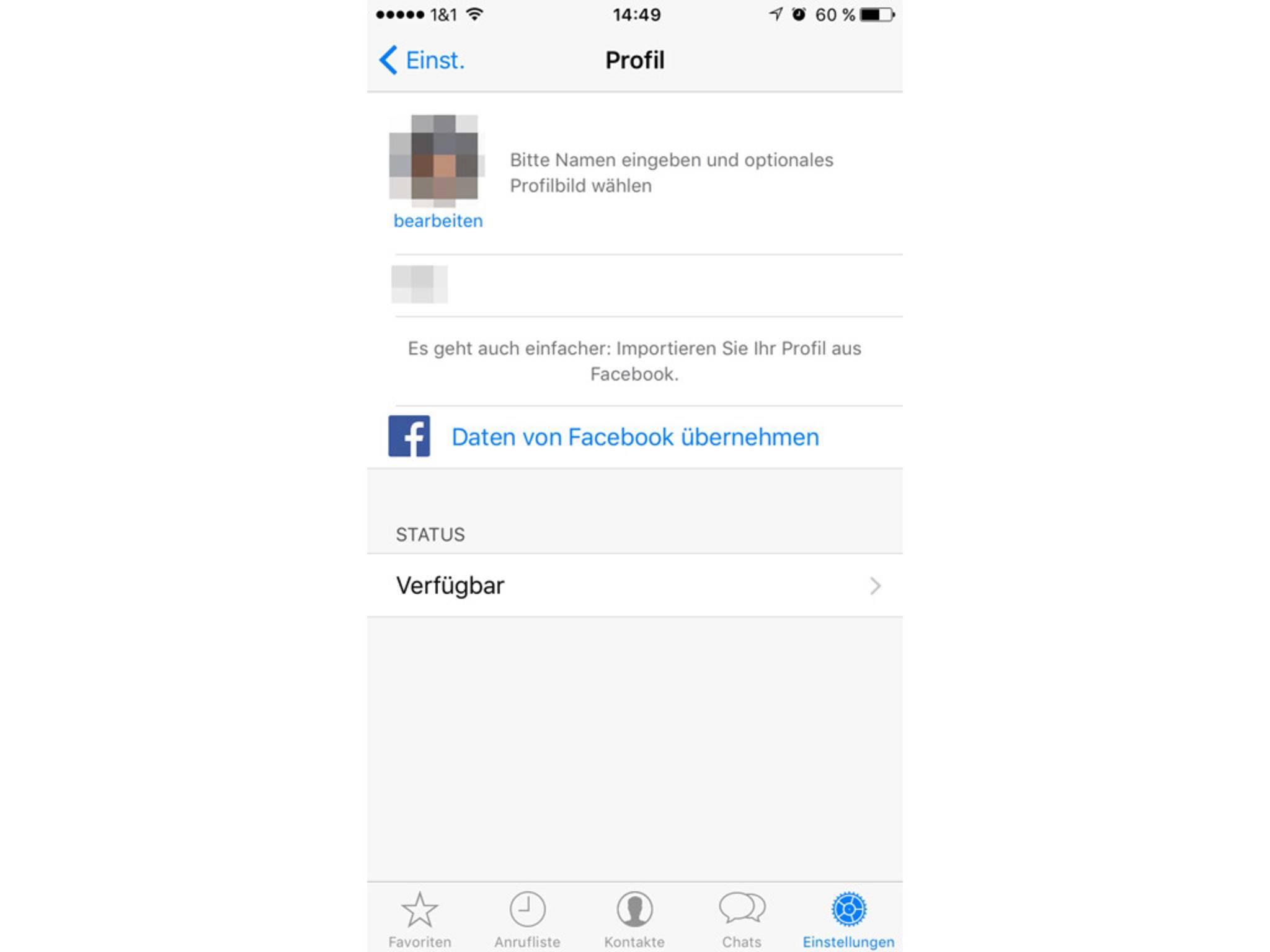 In den Profileinstellungen kann die Facebook-Synchronisation aktiviert werden.
