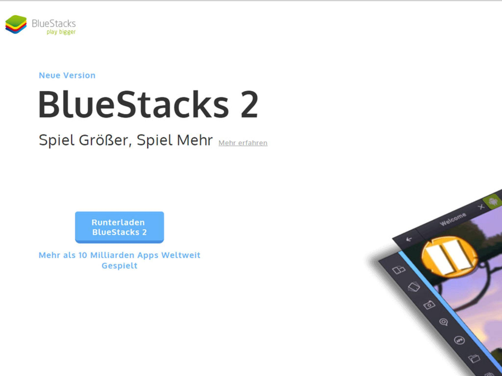 BlueStacks 2 lässt sich direkt beim Entwickler herunterladen.