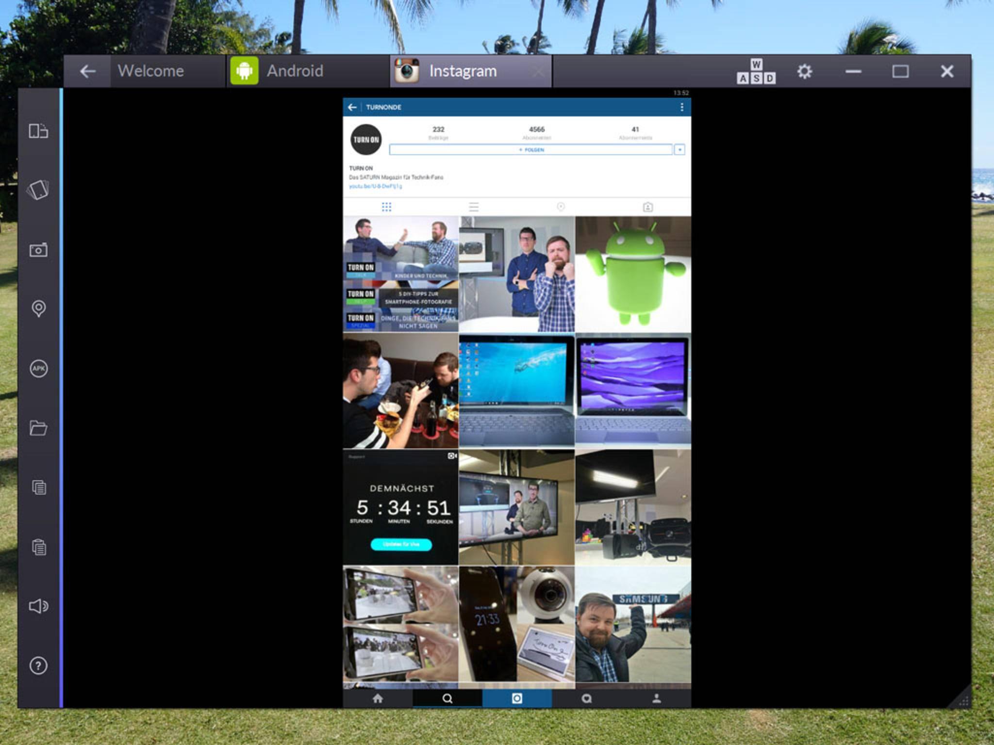 Das BlueStack-Fenster kannst Du in der Größe variieren, die Apps im Hoch- oder Querformat anzeigen lassen.
