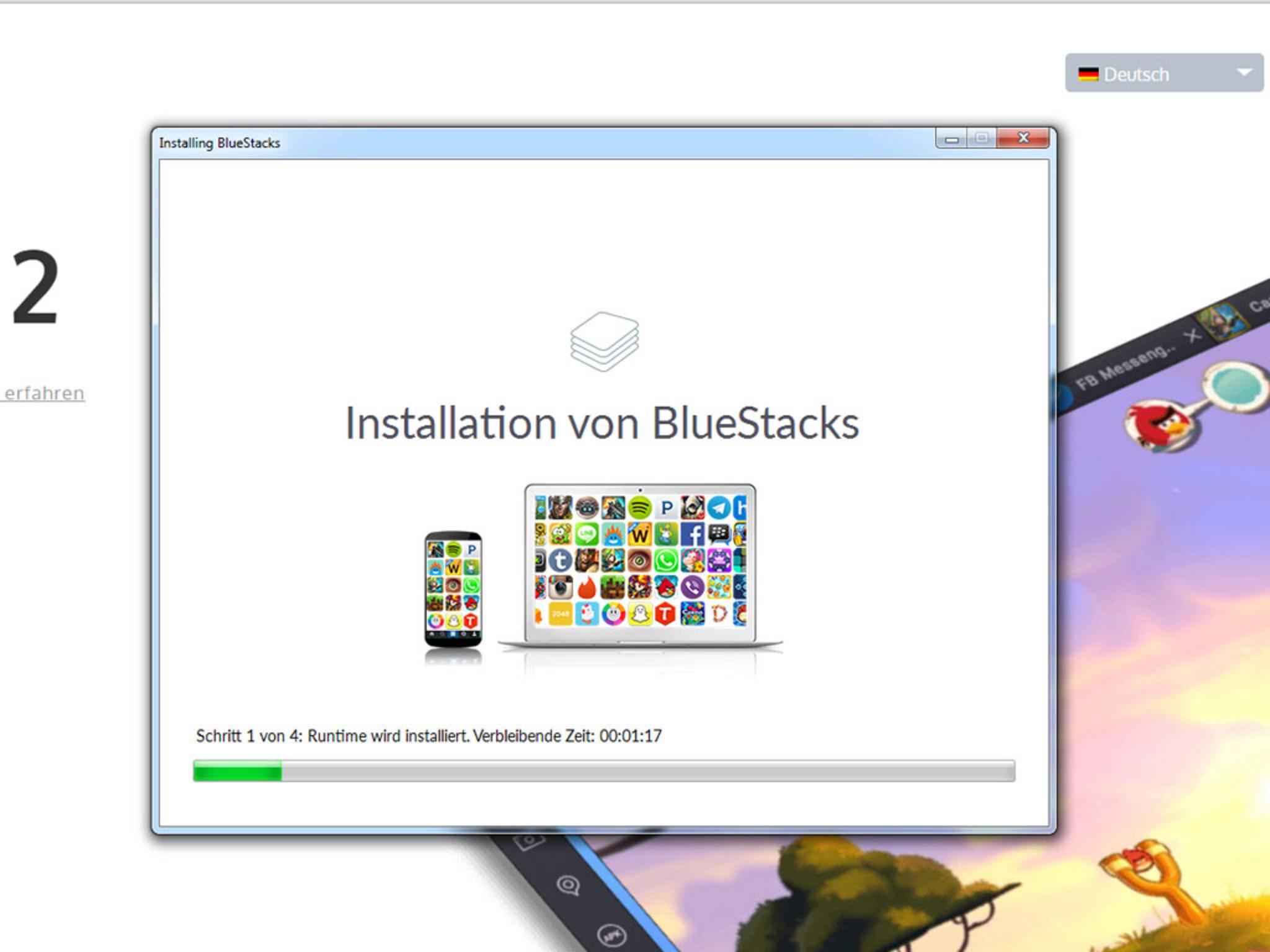 Im Anschluss wird BlueStacks 2 installiert.