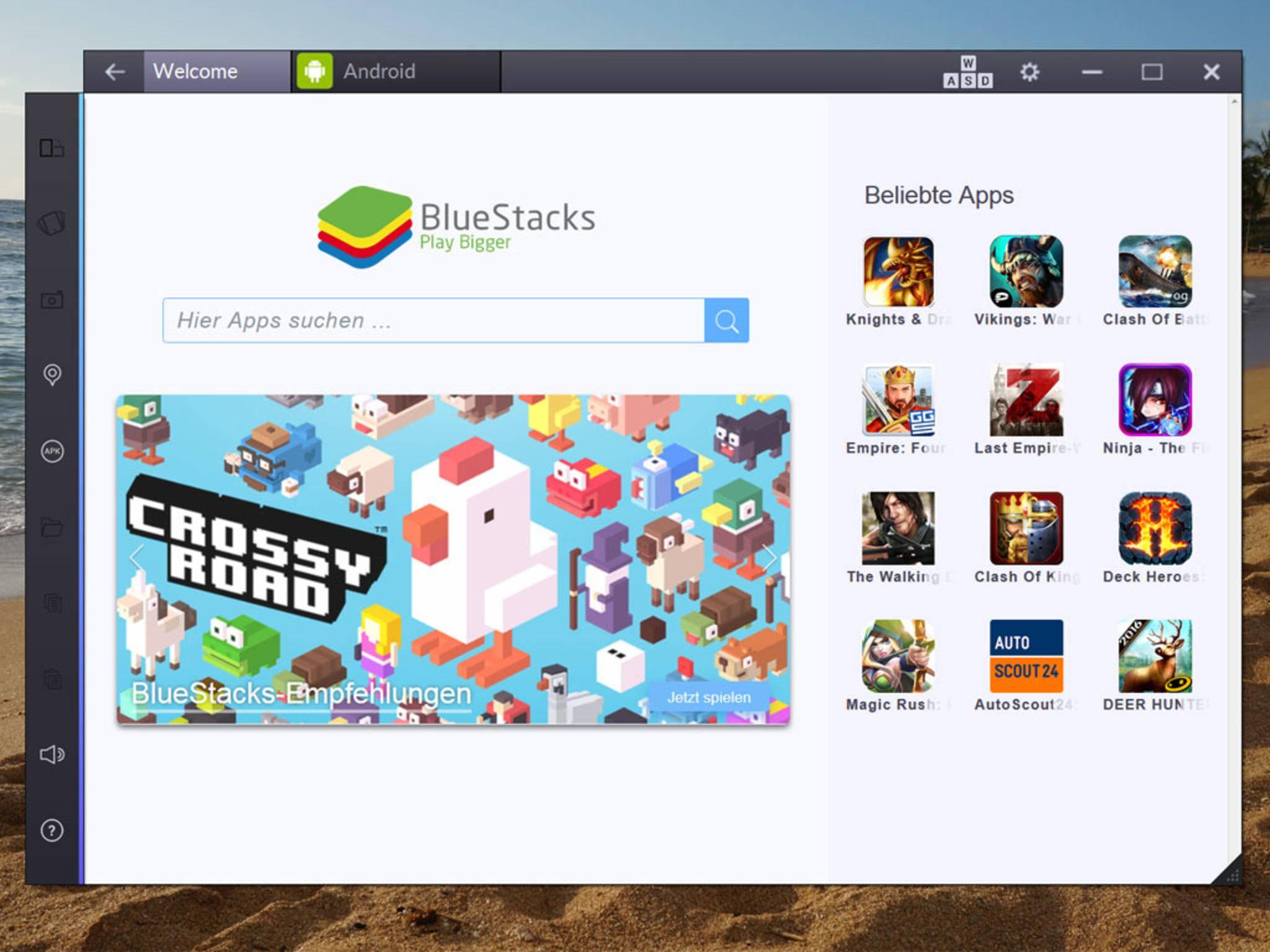 Auf der Startseite des App Players findest Du App-Vorschläge.