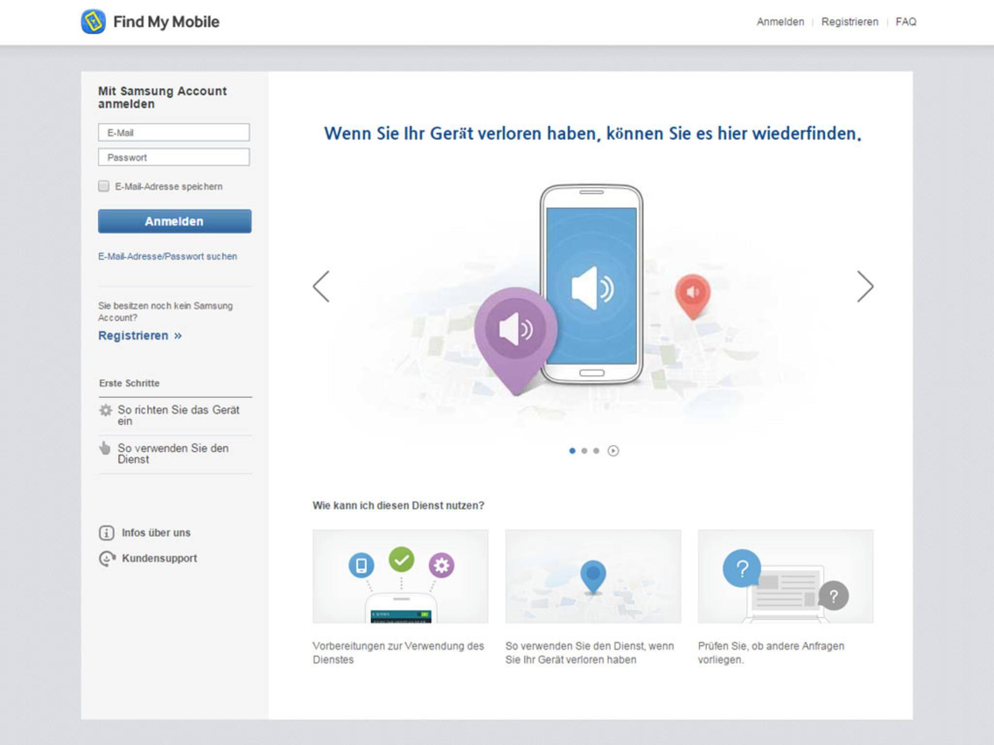 Zum Orten musst Du Dich mit Deinem Samsung-Konto bei findmymobile.samsung.com einloggen.