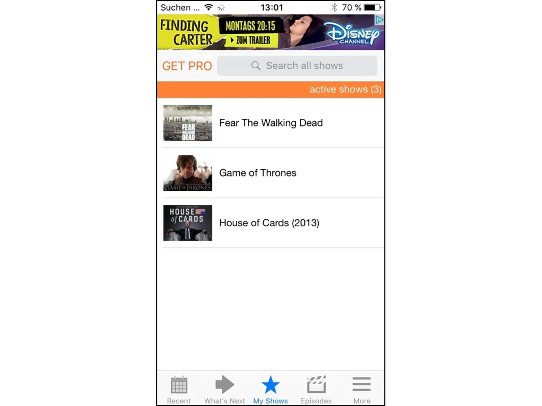 Next Episode ist eine rein englischsprachige App für das iPhone.
