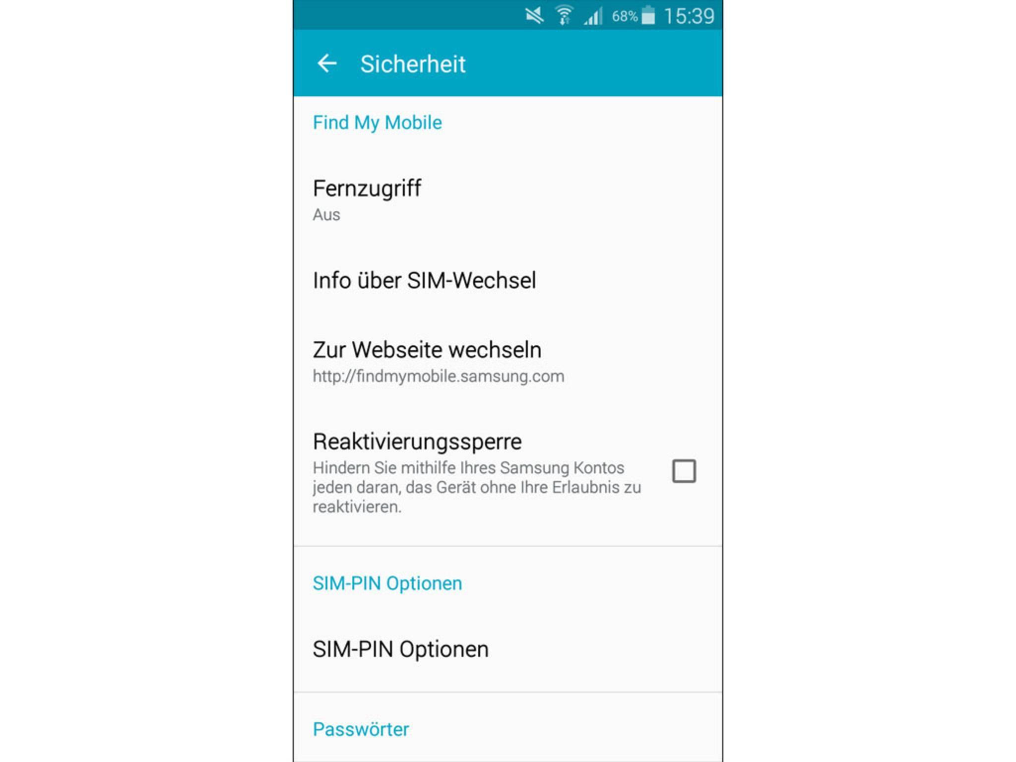 Samsung Galaxy S5 orten Fernzugriff einrichten 1