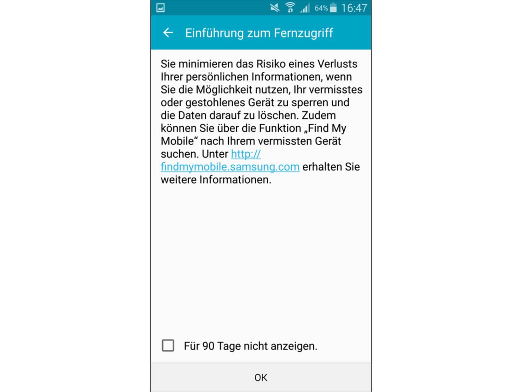 Samsung Galaxy S5 orten Fernzugriff einrichten 3