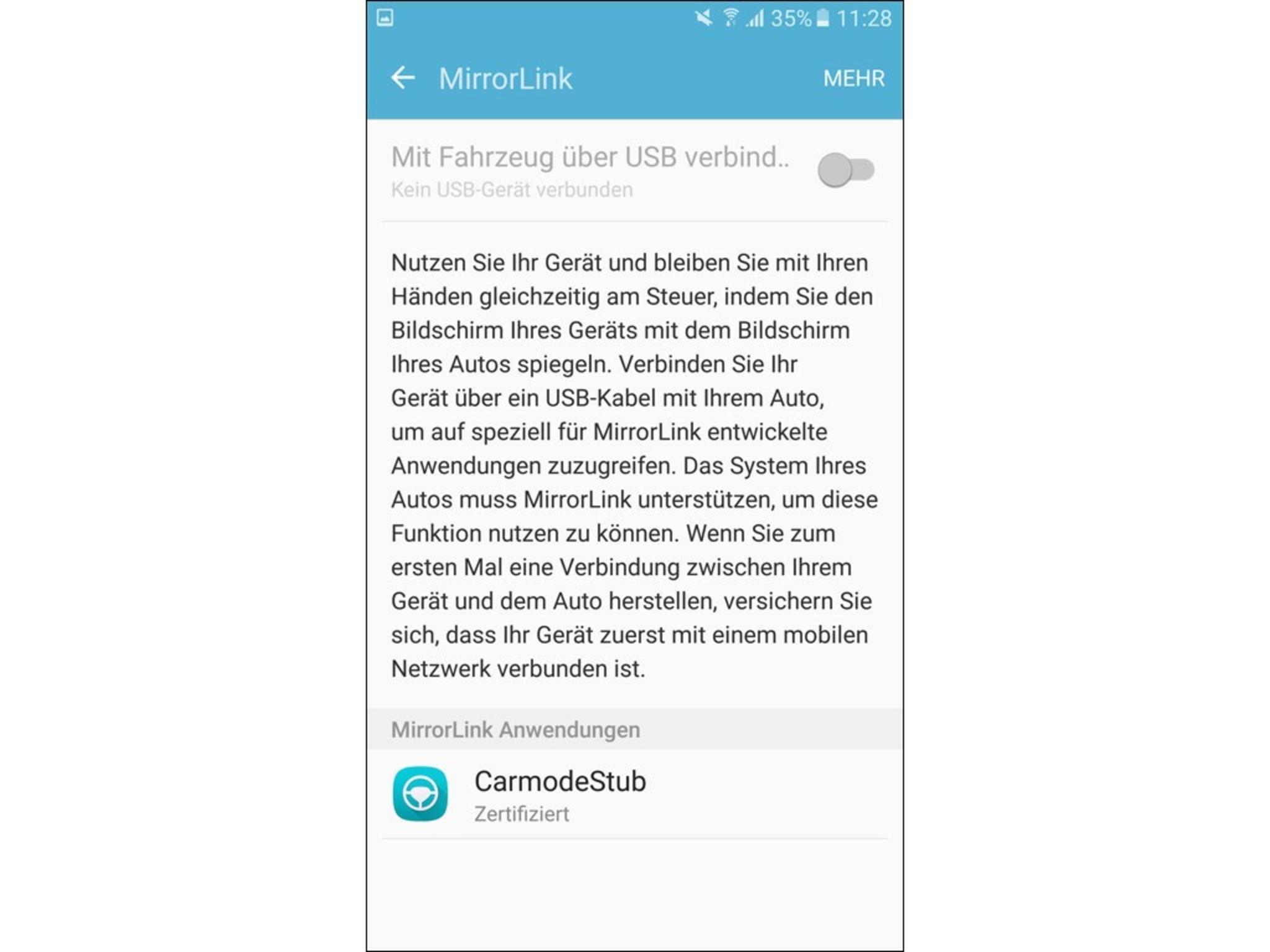 Via MirrorLink lässt sich das Galaxy S7 währenddessen trotzdem nutzen.