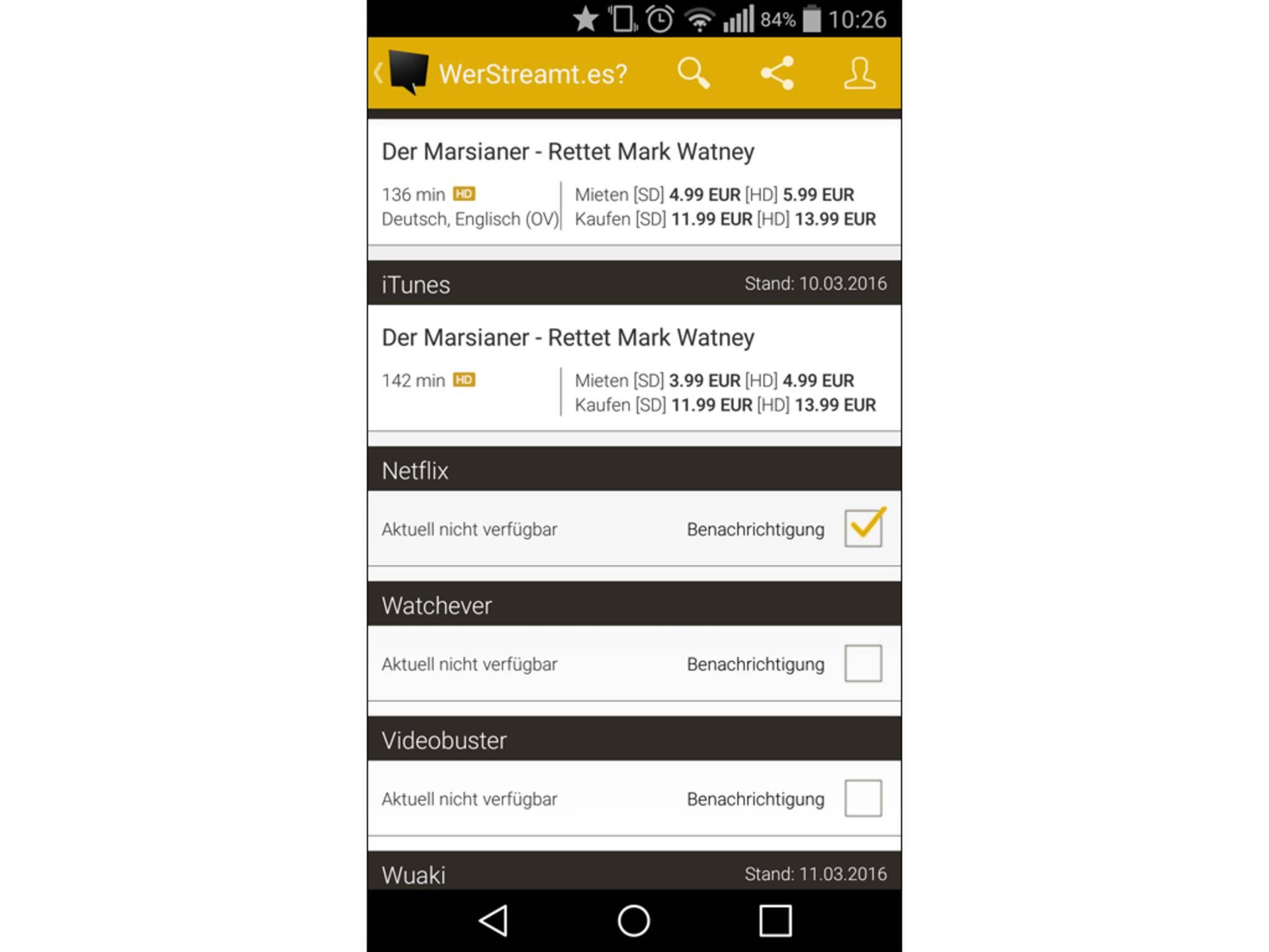 Die App durchforstet deutsche Streaming-Portale nach aktuellen Serien und Filmen.