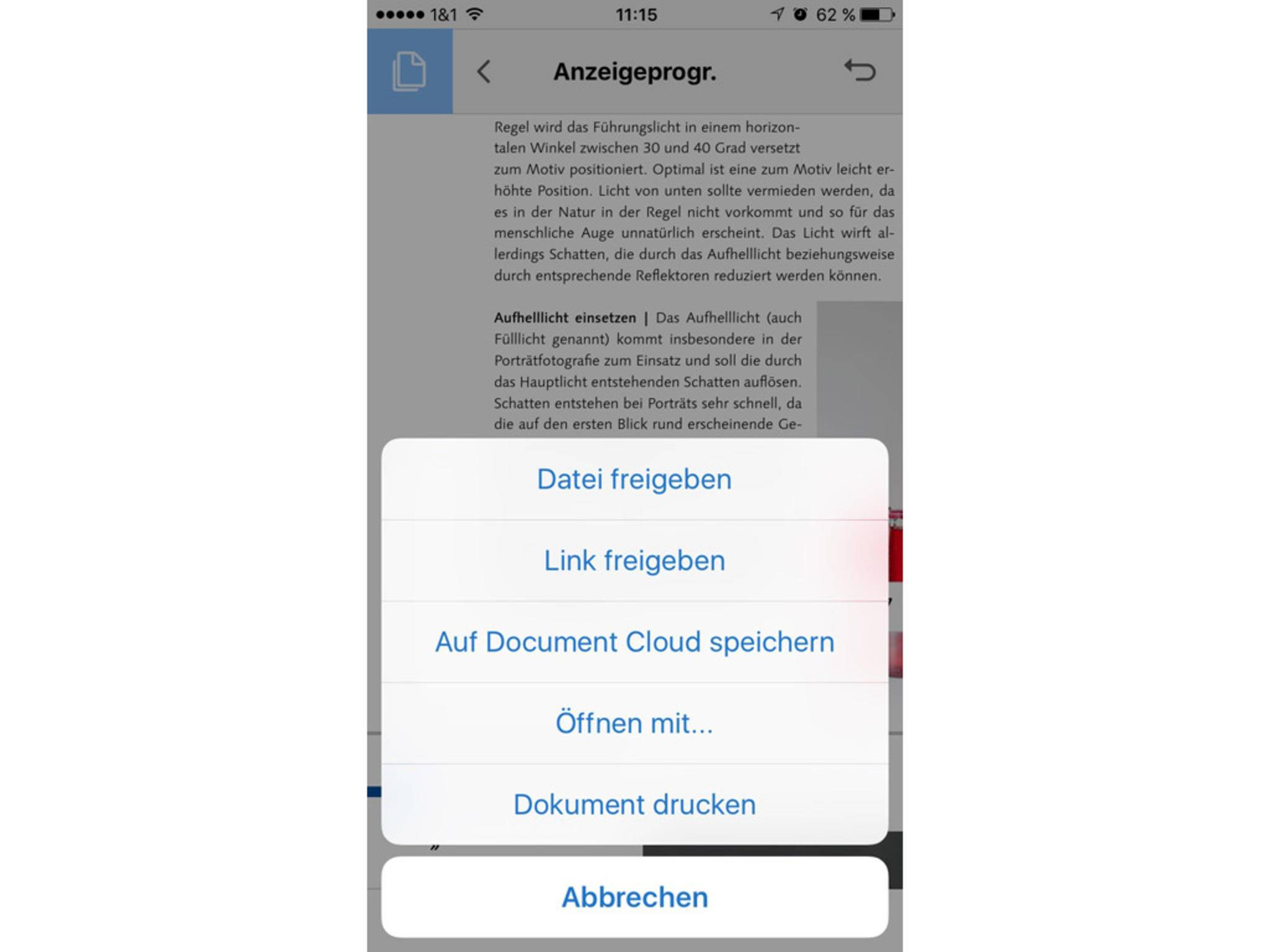 Auch aus Apps wie dem PDF-Reader kann ein PDF per WhatsApp verschickt werden.