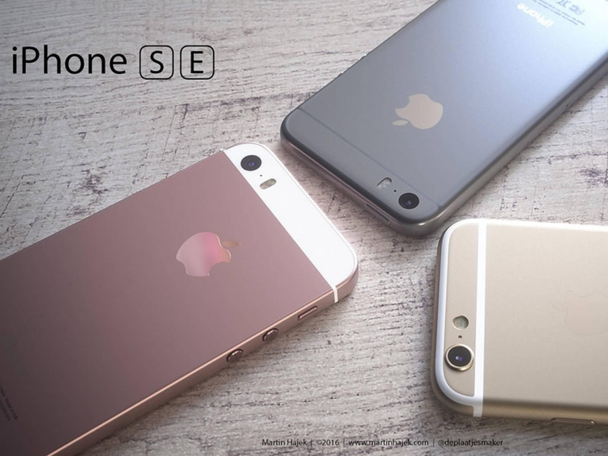 Drei Render-Versionen des iPhone SE beziehungsweise iPhone 5se.