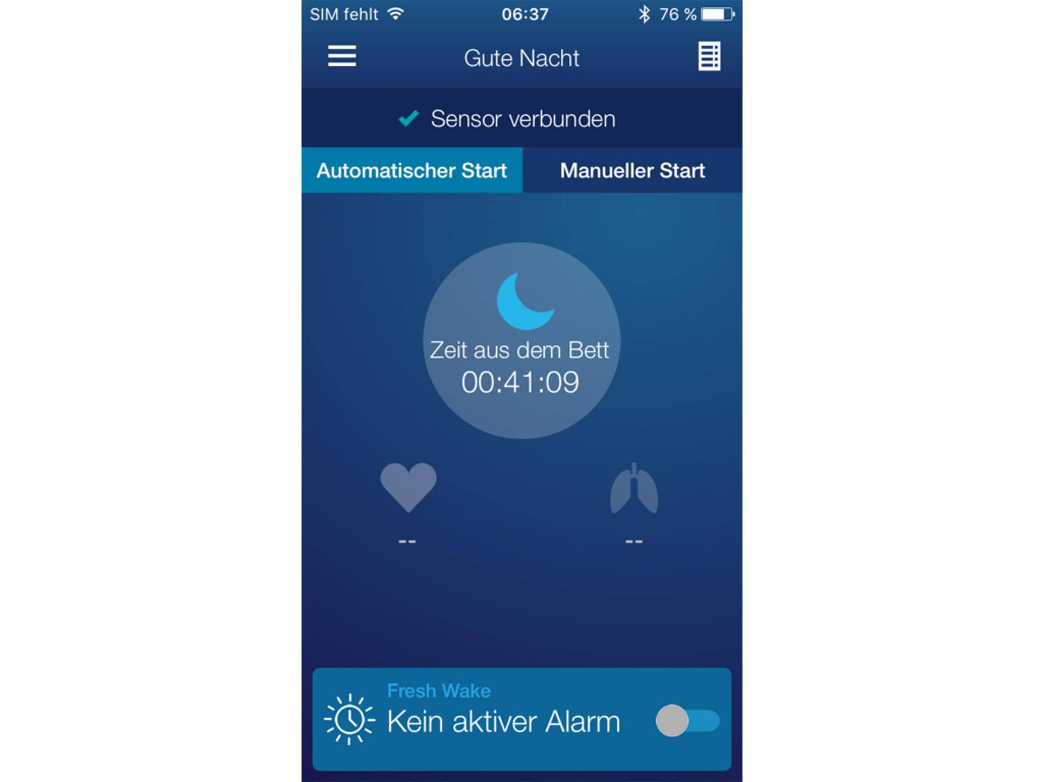 Wann man ins Bett geht und aufsteht, erkennt der Sensor automatisch.