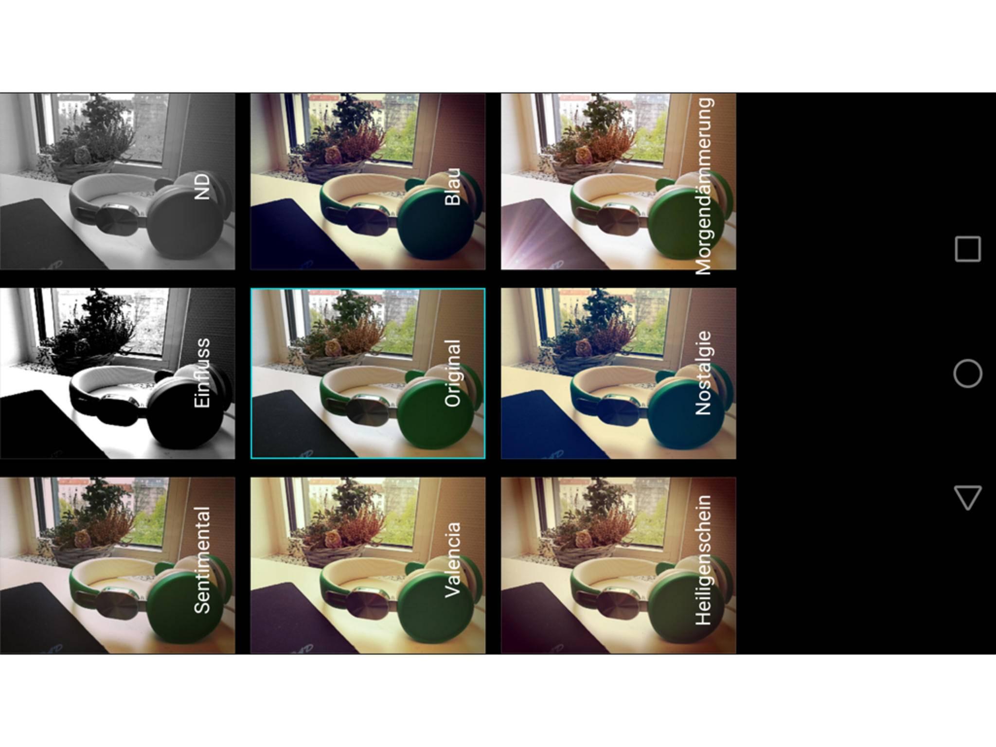 Filtereffekte lassen sich mit Live-Vorschau anwenden.