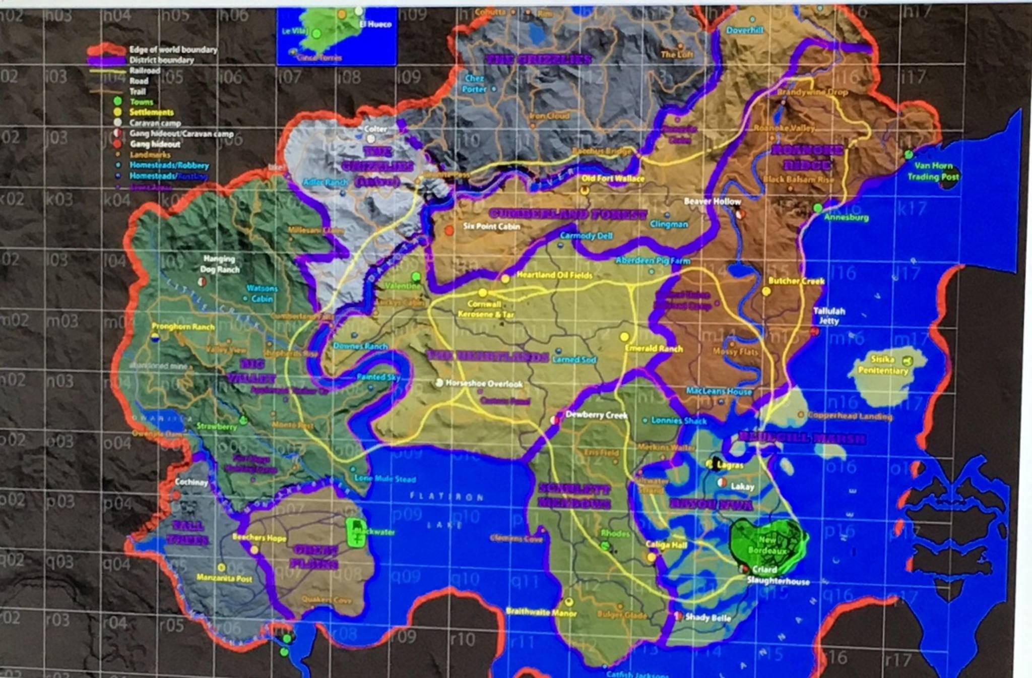 """Diese Karte soll angeblich die Spielwelt von """"Red Dead Redemption 2"""" zeigen."""
