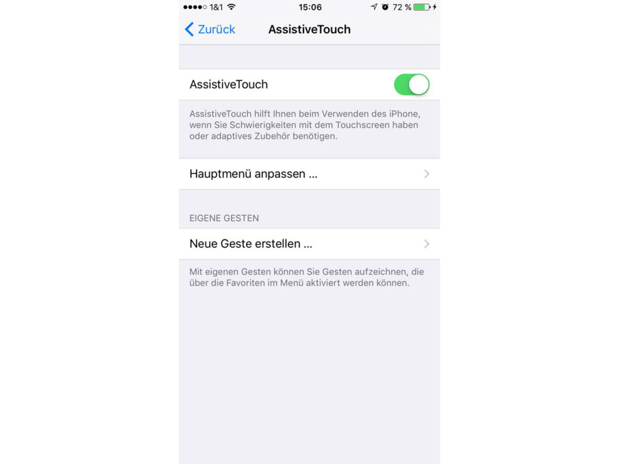 In den Einstellungen von iOS muss Assitive Touch aktiviert werden.