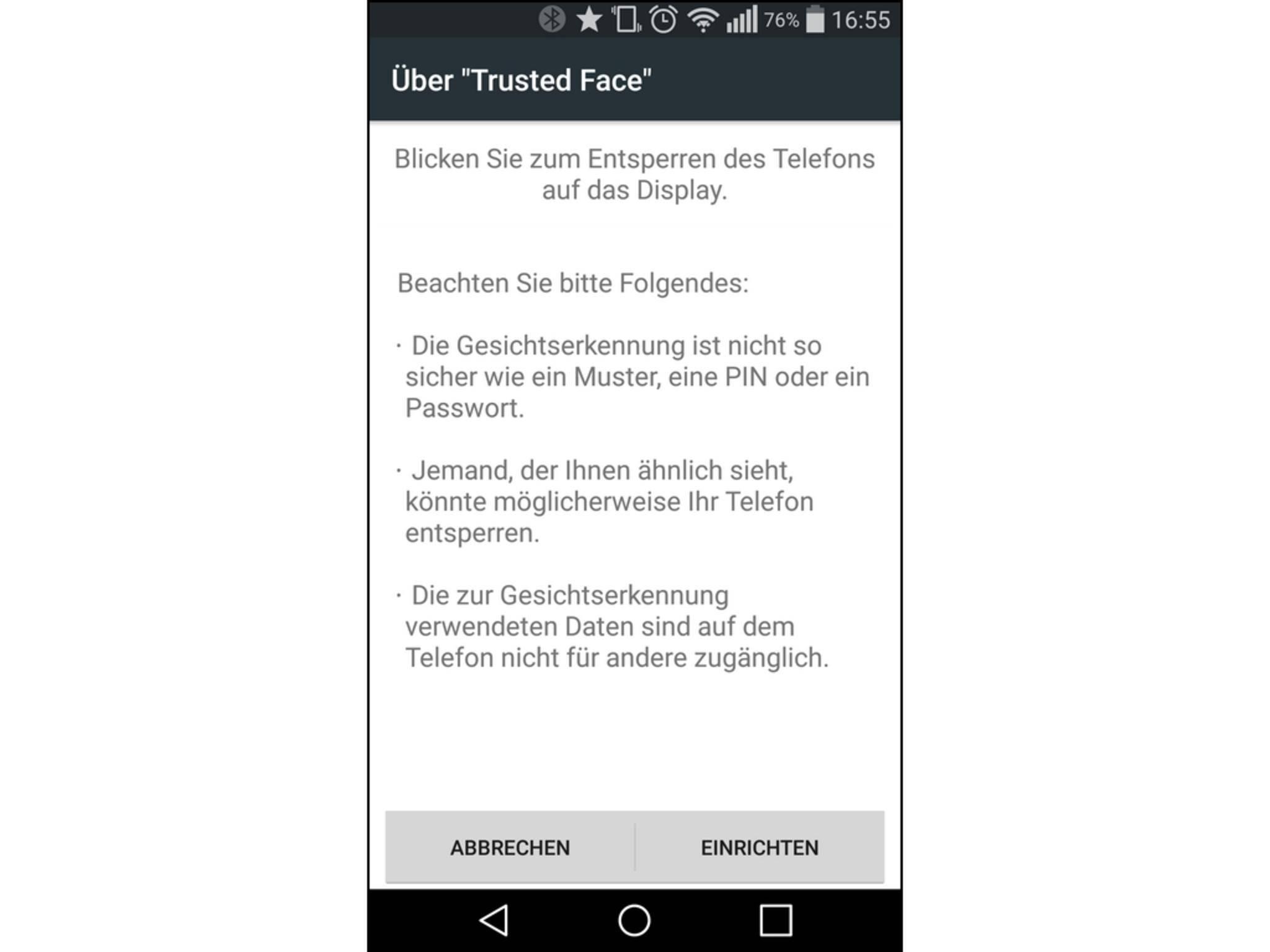 Android warnt, dass die Gesichtserkennung nicht die sicherste Art ist.