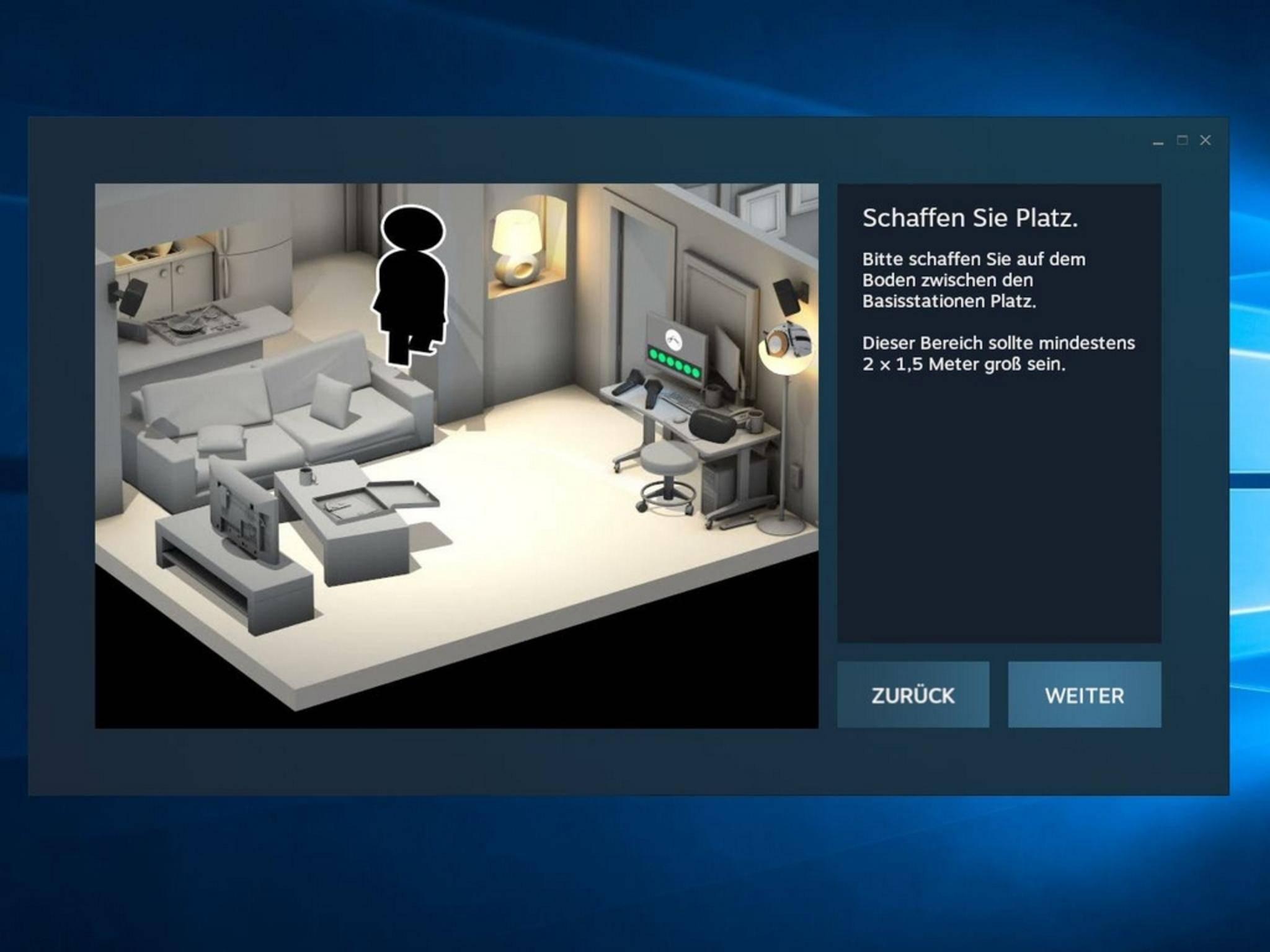 Die finale Einrichtung der Vive erfolgt über Steam VR.