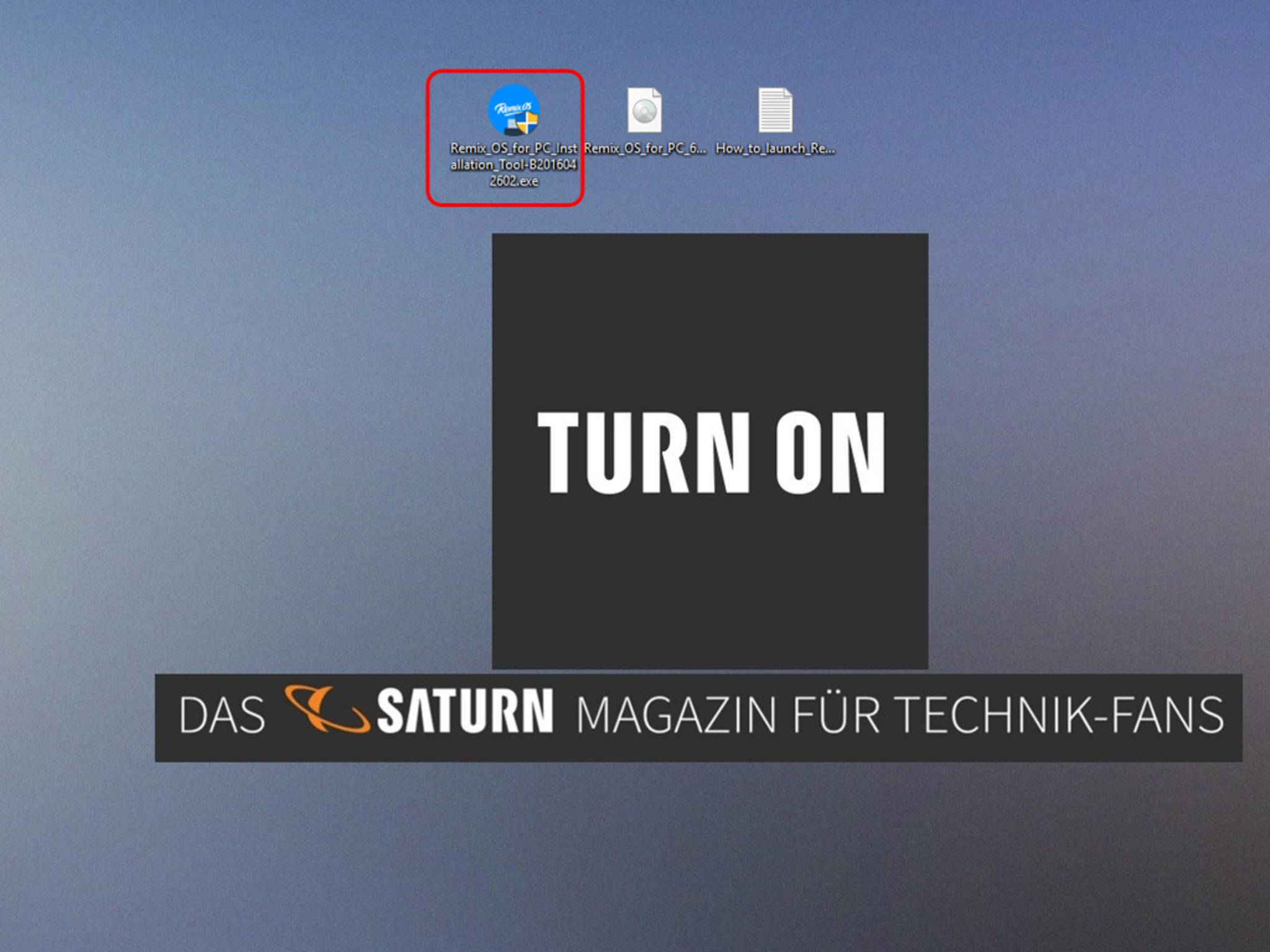 Wenn Du Remix OS für PC auf dem Desktop entpackt hast, startest Du zuerst die Installationsdatei per Doppelklick ...