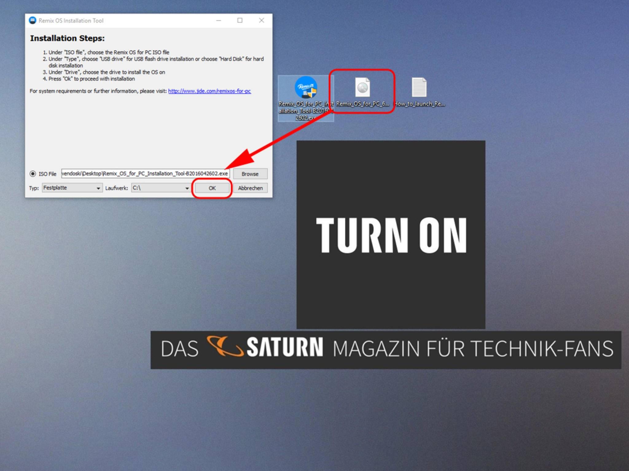 ... und wählst dann die ISO-Datei aus. Zum Schluss bestätigst Du alles per Klick auf OK.