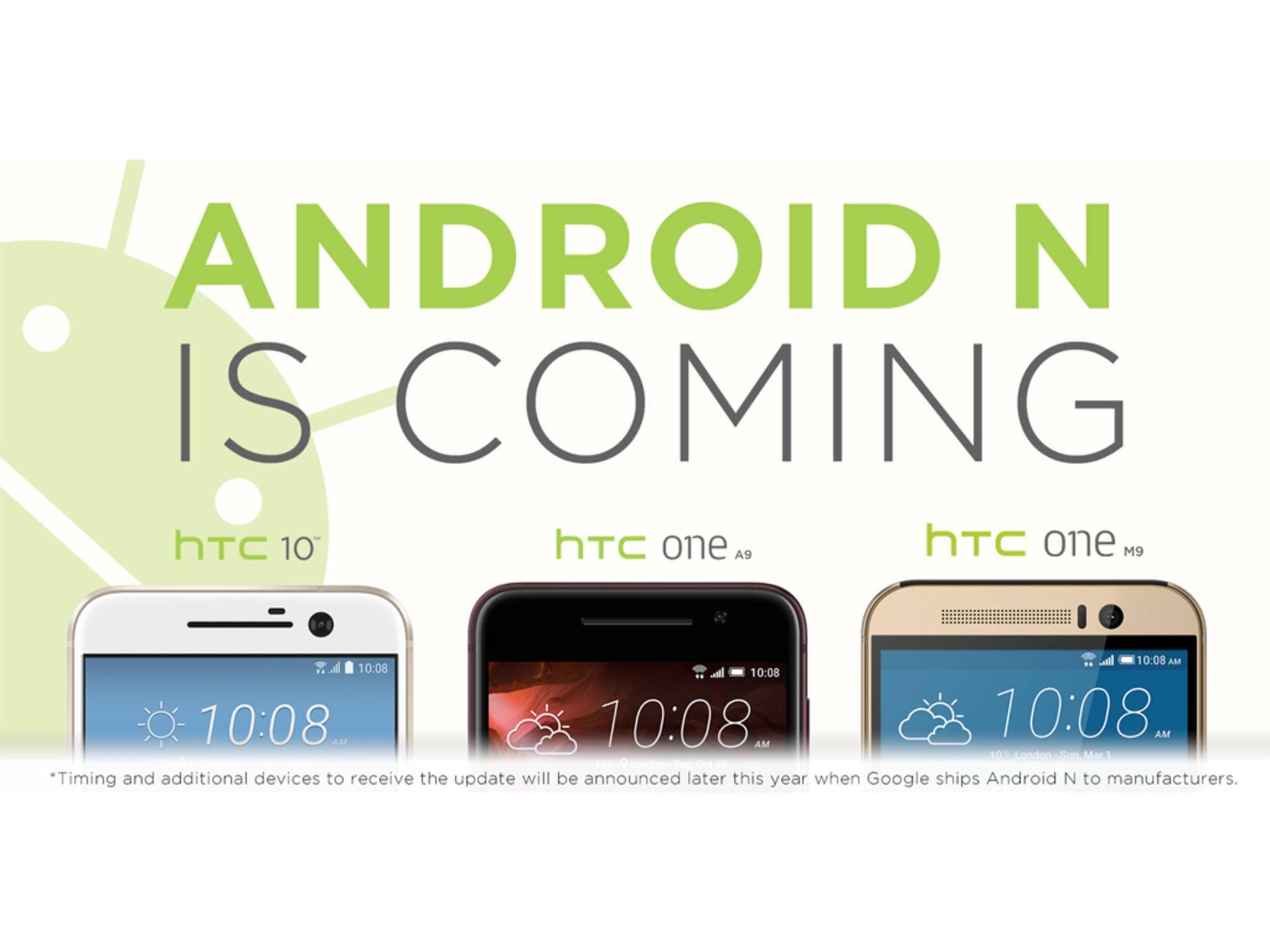 Es ist offiziell: Das HTC 10, das HTC One A9 und das One M9 erhalten Android N.