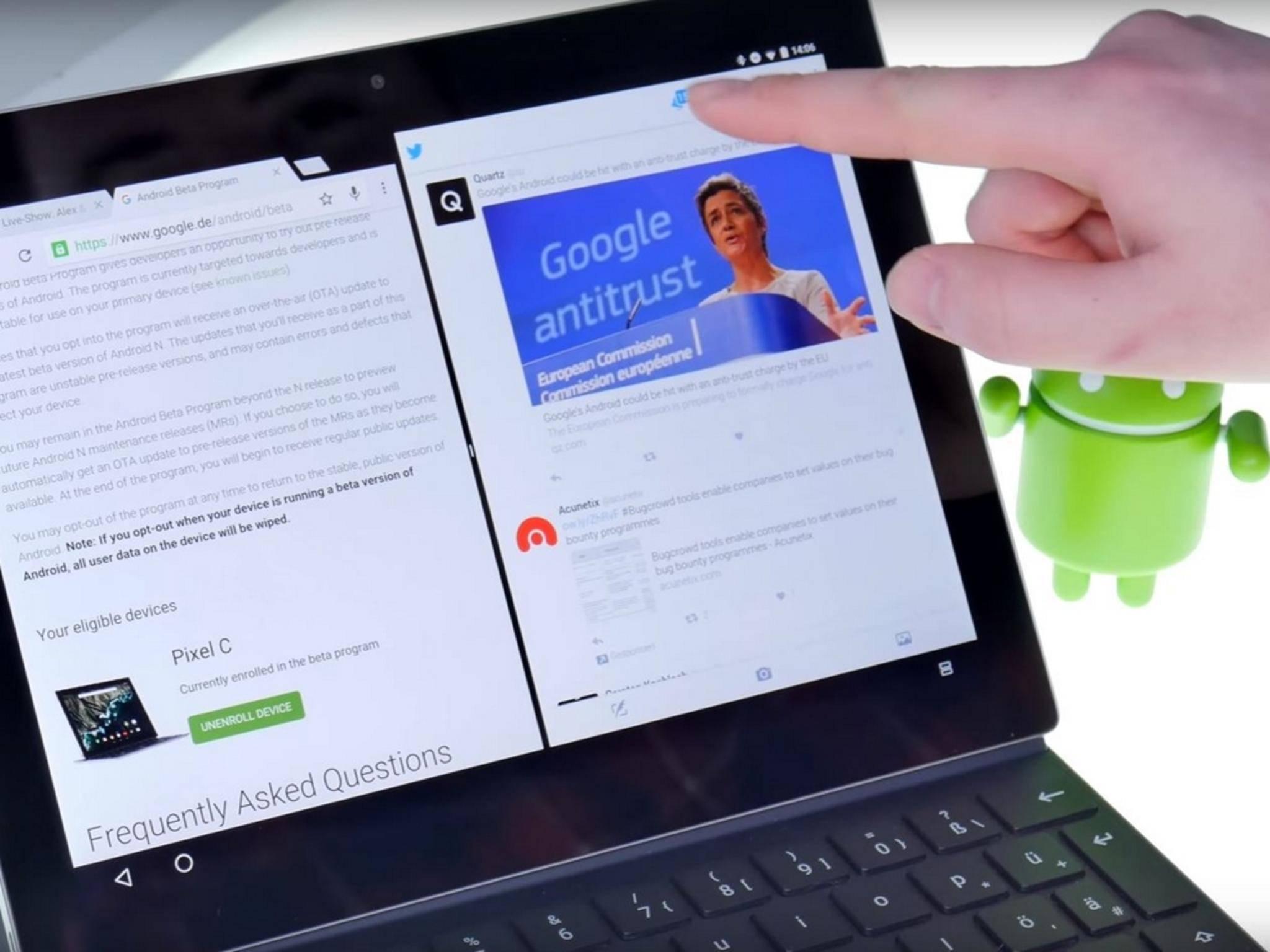 Der Splitscreen-Modus von Android N in der Entwickler-Preview.