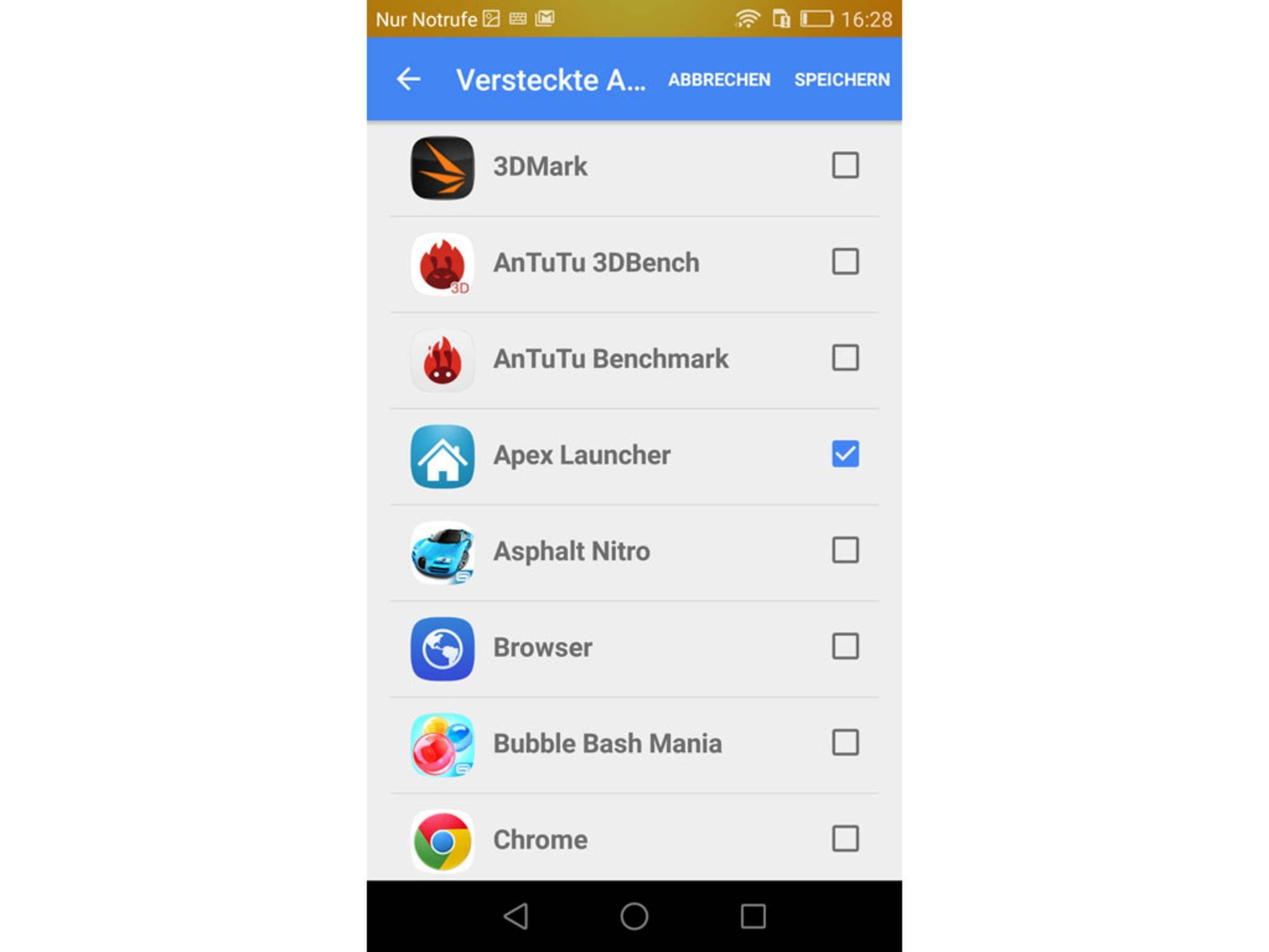 Per Checkbox lassen sich die Apps bestimmen, die versteckt werden sollen.