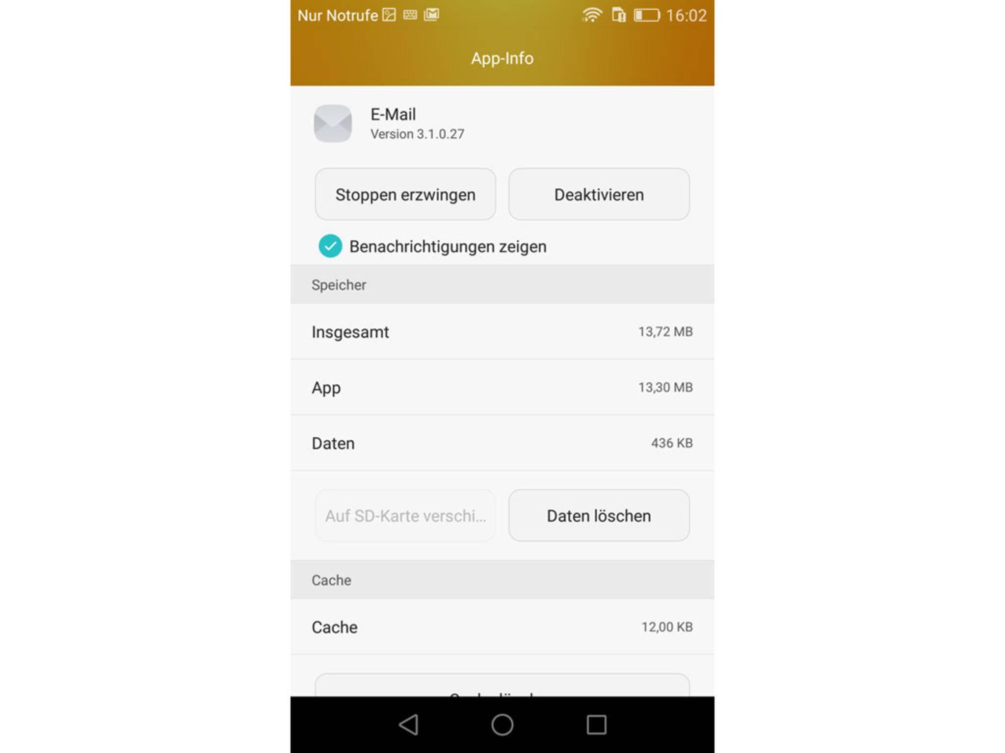 In den App-Details kann die Anwendung deaktiviert werden.