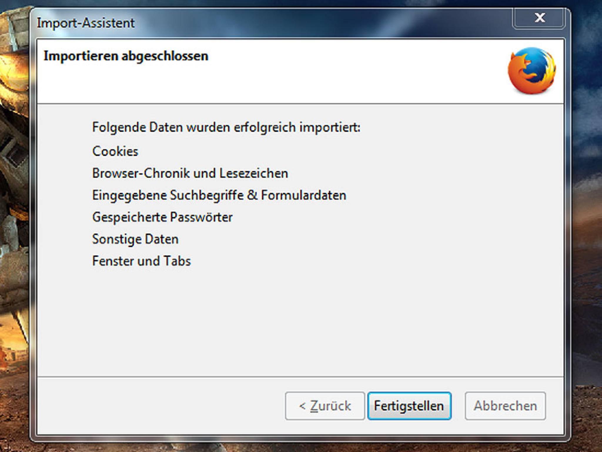 """Nach einem Klick auf """"Fertigstellen"""" startet Firefox neu."""