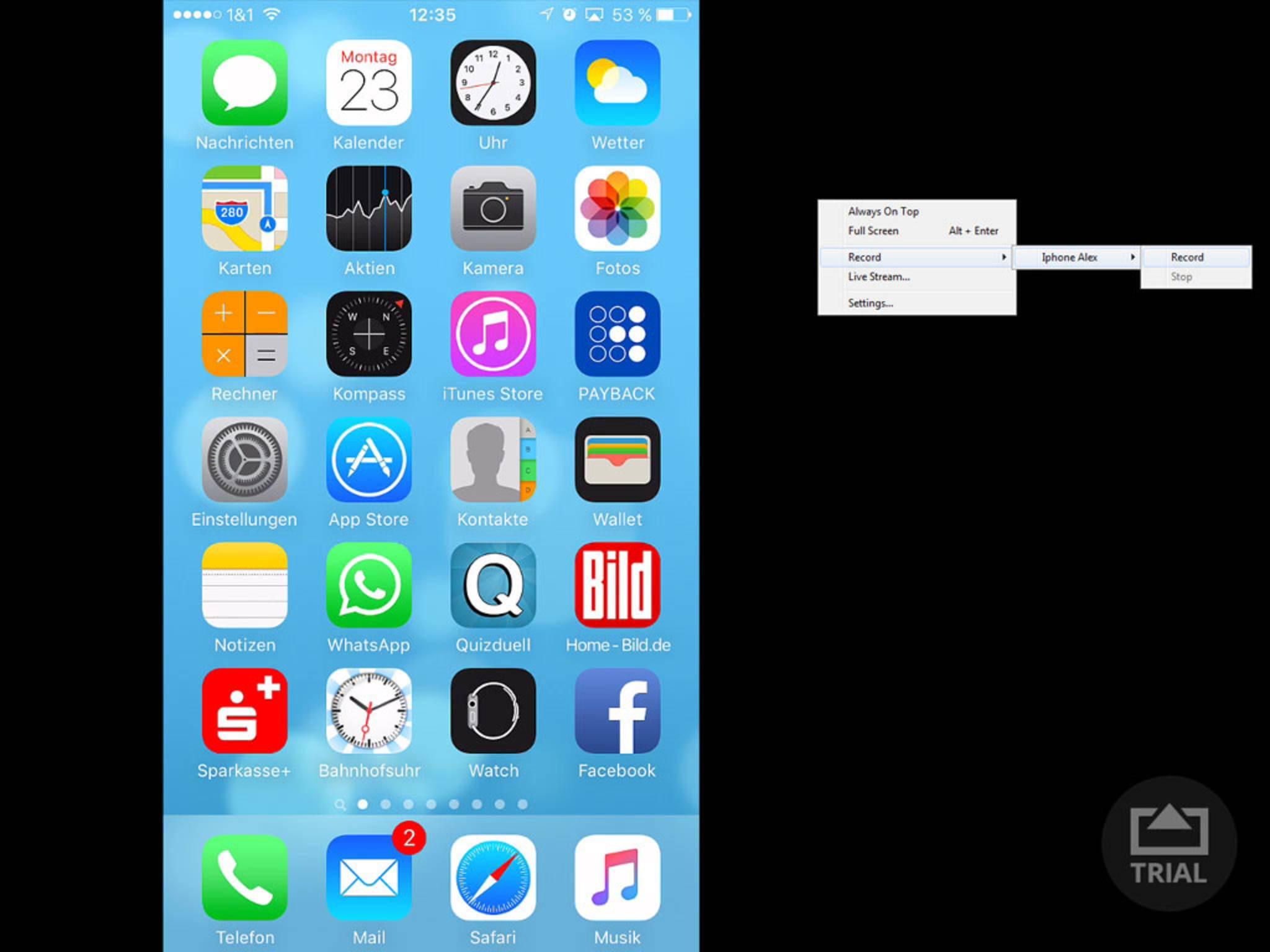 Wenn alles funktioniert, siehst Du Deinen iPhone-Bildschirm auf dem Windows-PC.