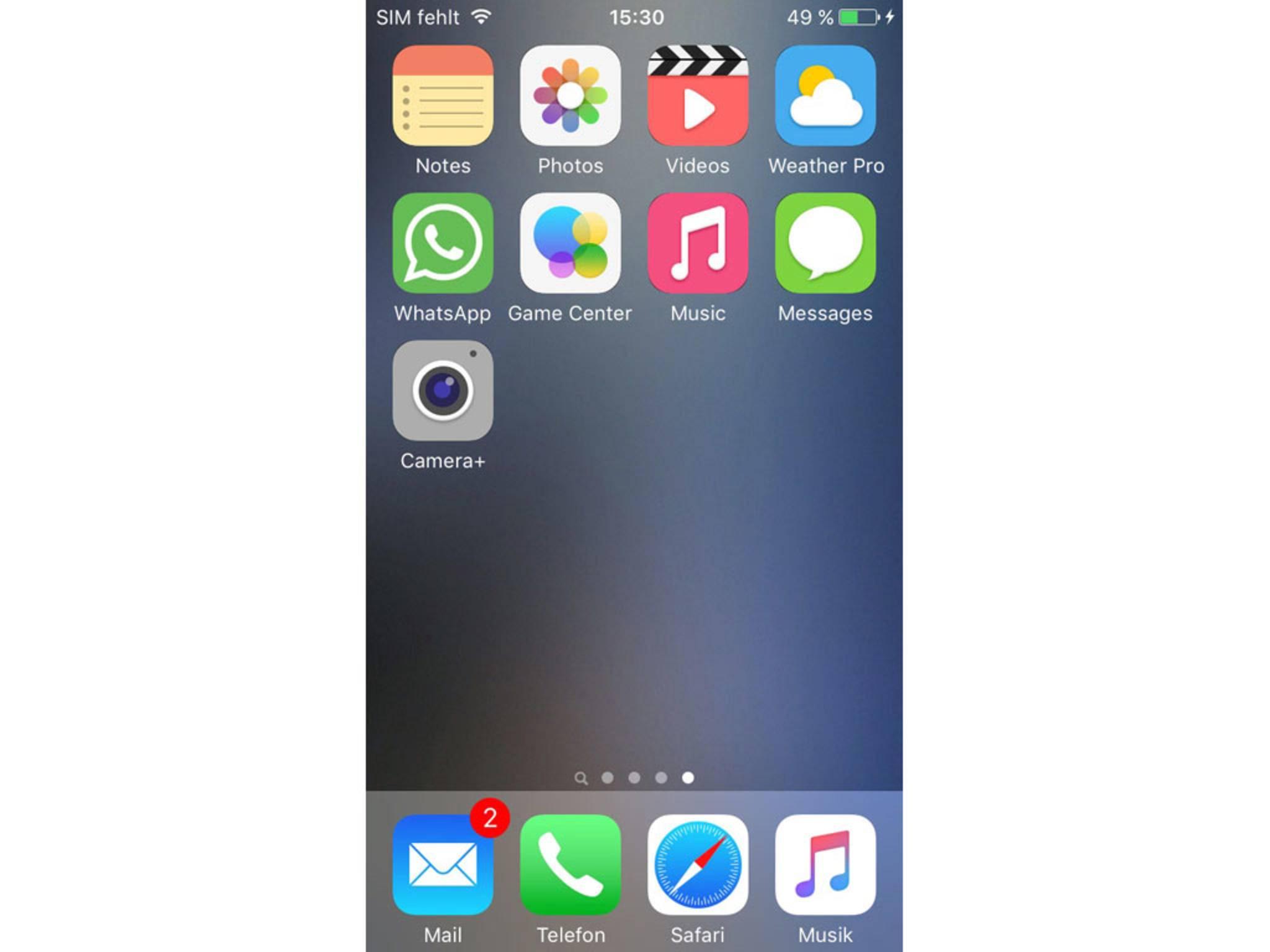 So sehen die neuen App-Symbole in unserem Beispiel auf dem Homescreen aus.