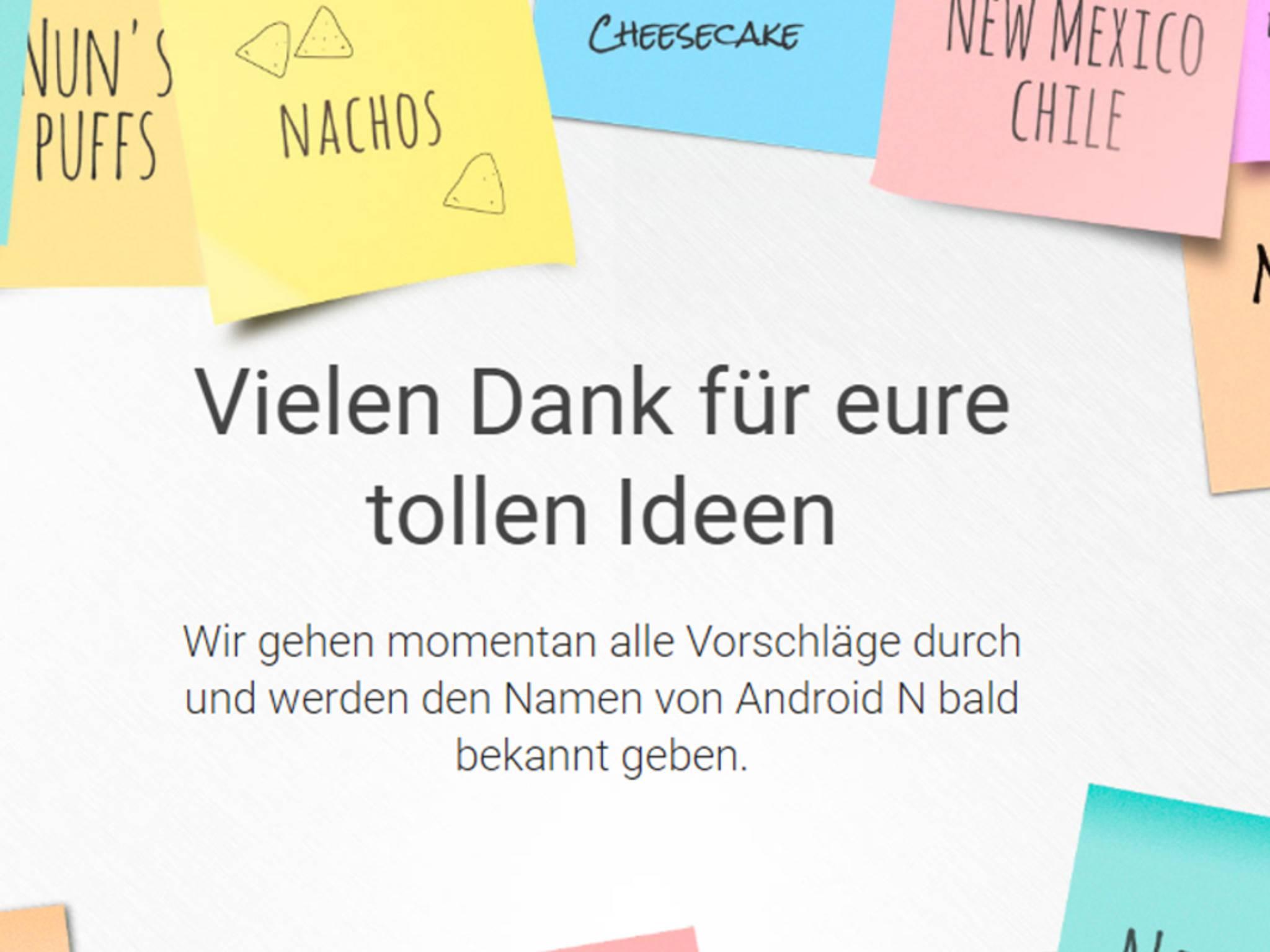 Google geht nun die Vorschläge für den finalen Namen von Android N durch.