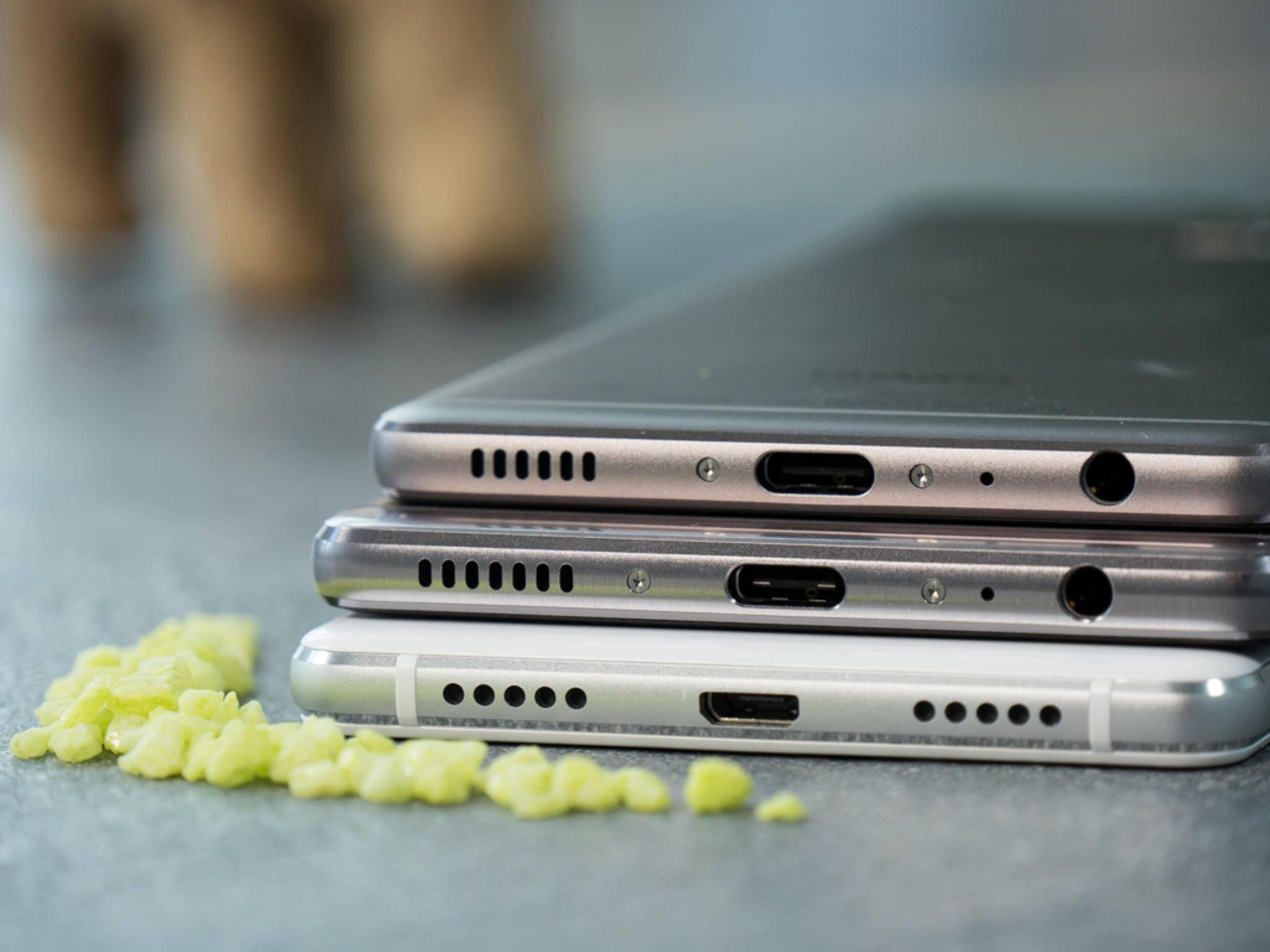 ...und besitzen einen USB Typ-C-Port, das P9 Lite nur Micro-USB.