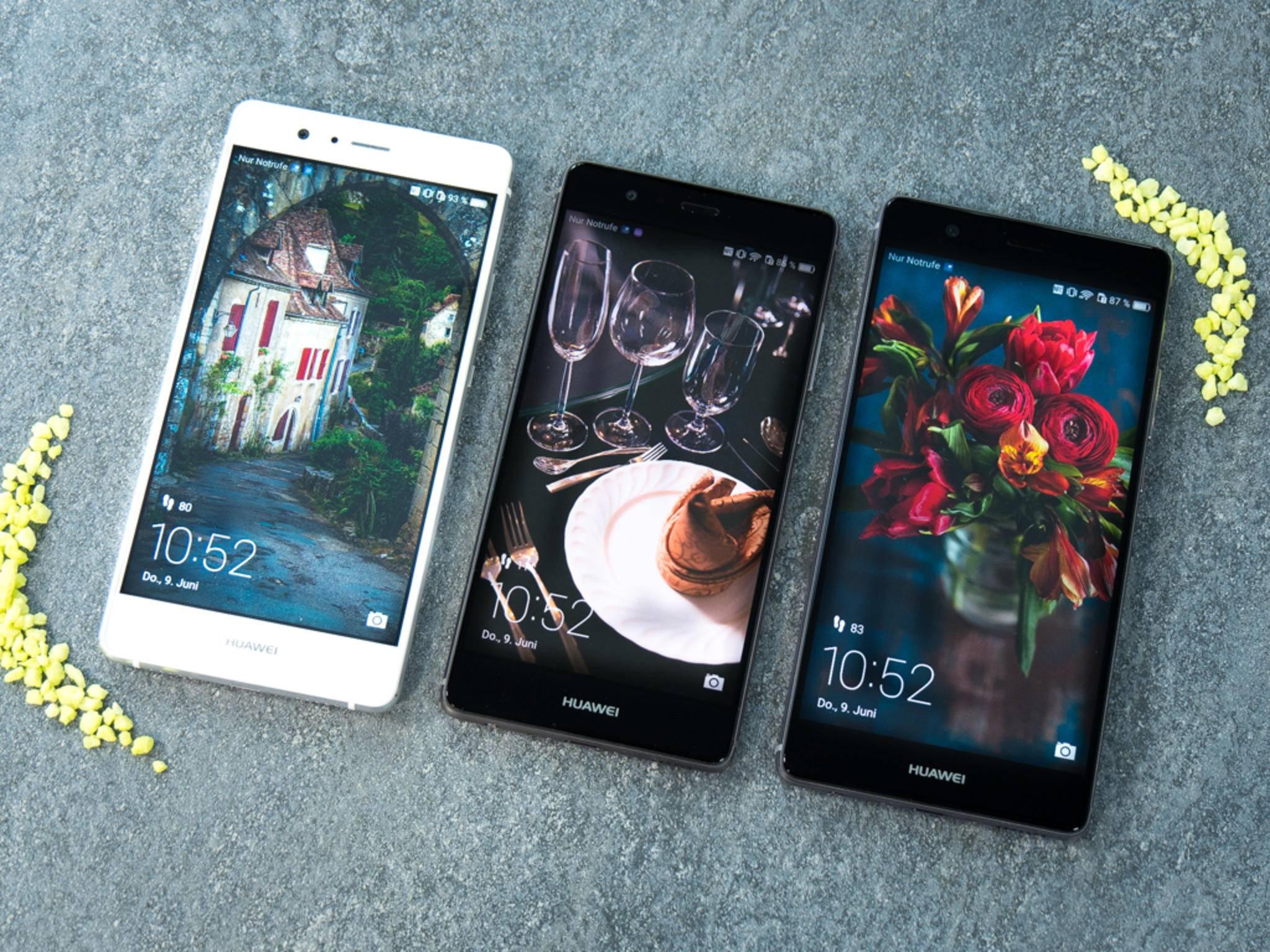 Zweimal 5,2 Zoll, einmal 5,5 Zoll: Huawei P9 Lite, P9 und P9 Plus.