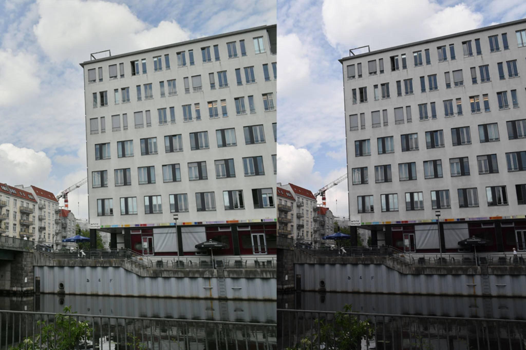 Hier kann man den HDR-Effekt sehen: Links ist mit HDR, rechts ohne, aber ...