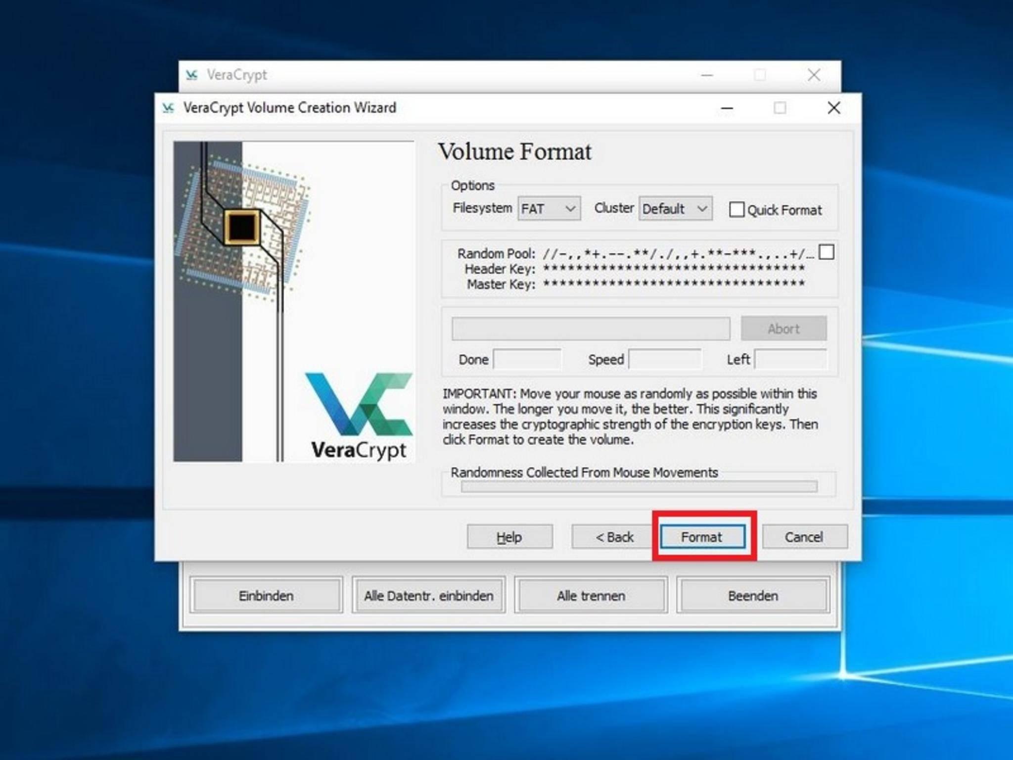 """Mit """"Format"""" wird die Verschlüsselung des Sticks schließlich gestartet."""