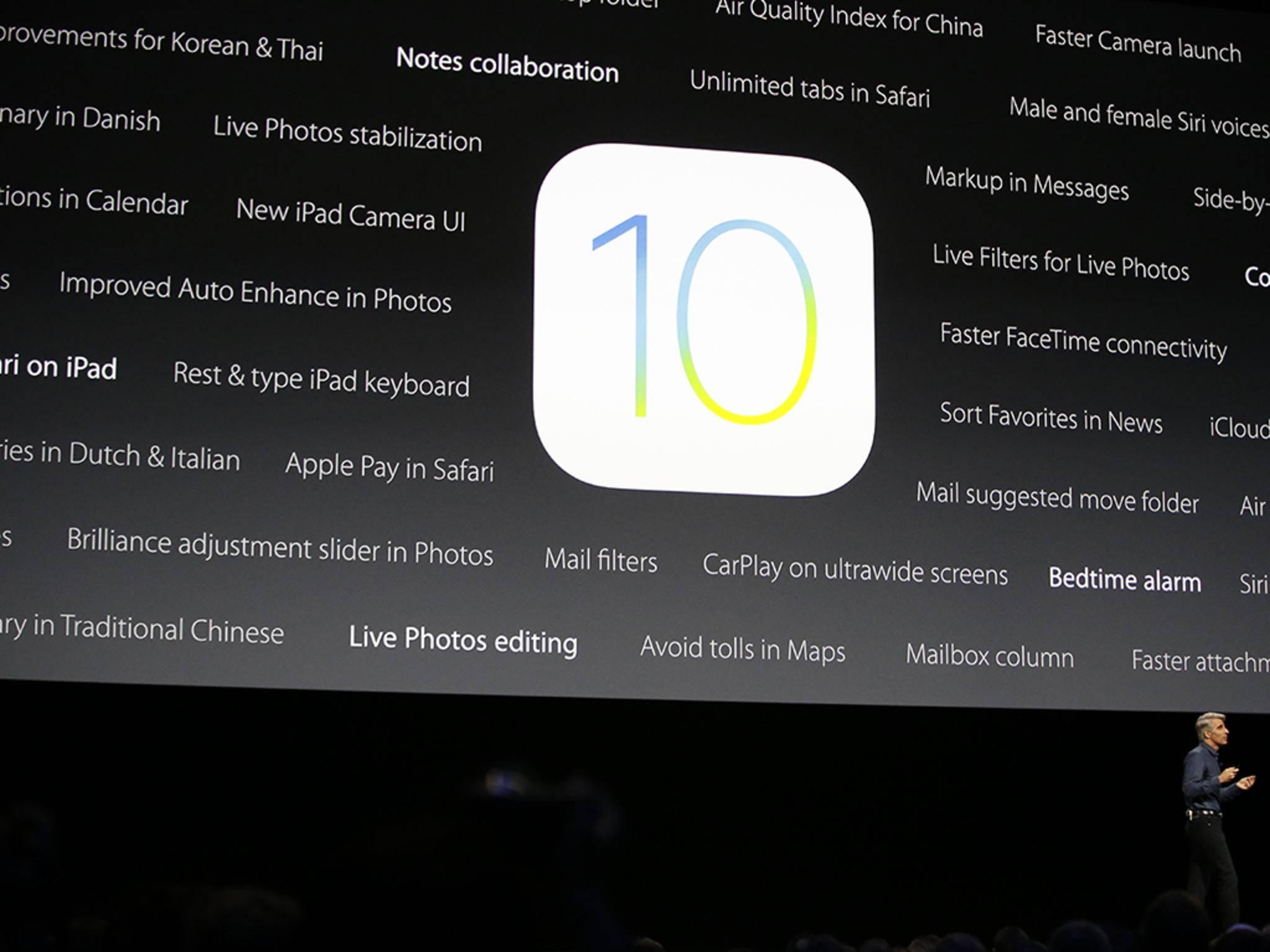 Tim Cook stellte gleich zu Beginn dieser Woche das grundlegend neue iOS 10 vor.