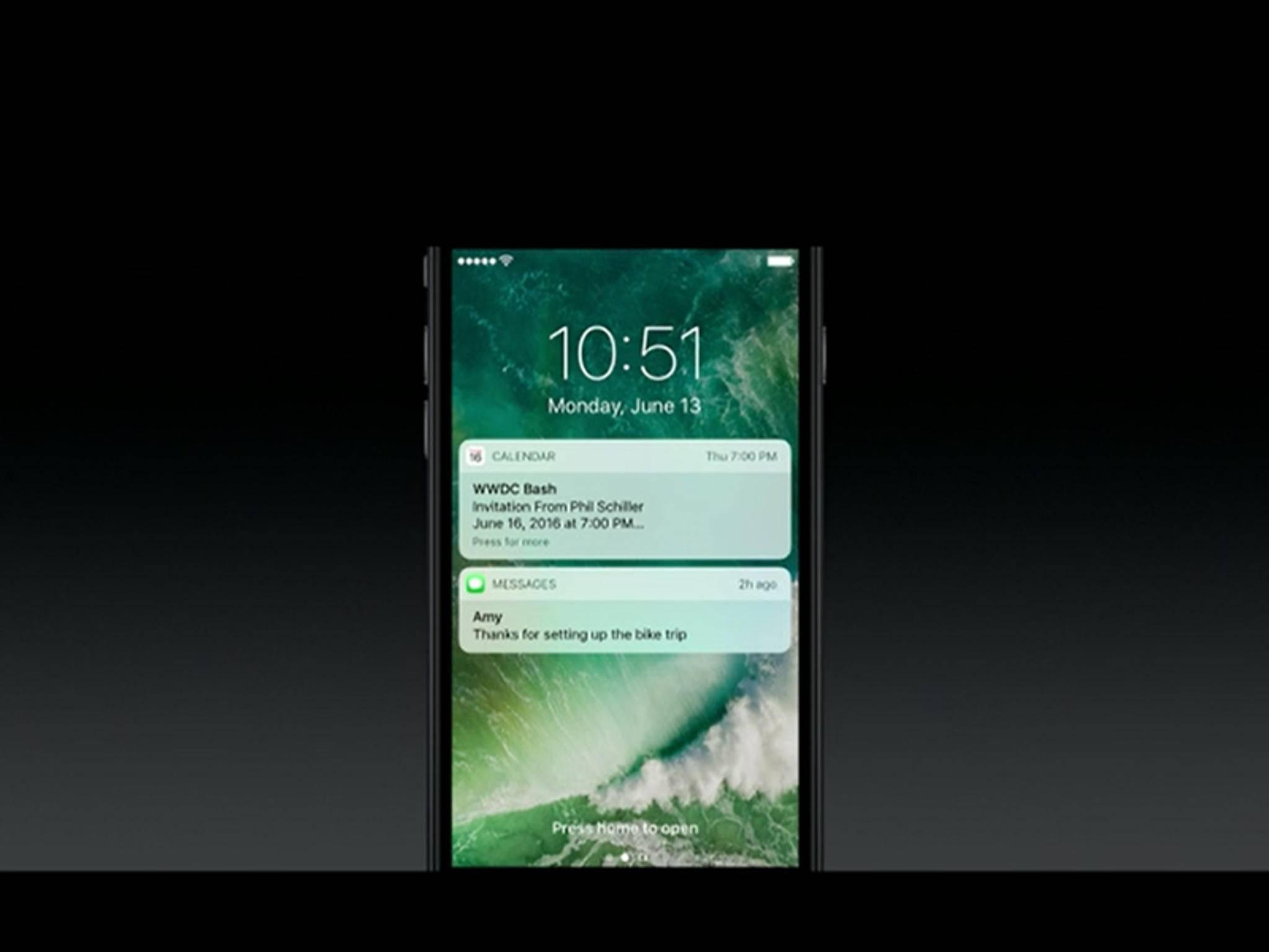Mitteilungen werden in iOS 10 etwas anders dargestellt.