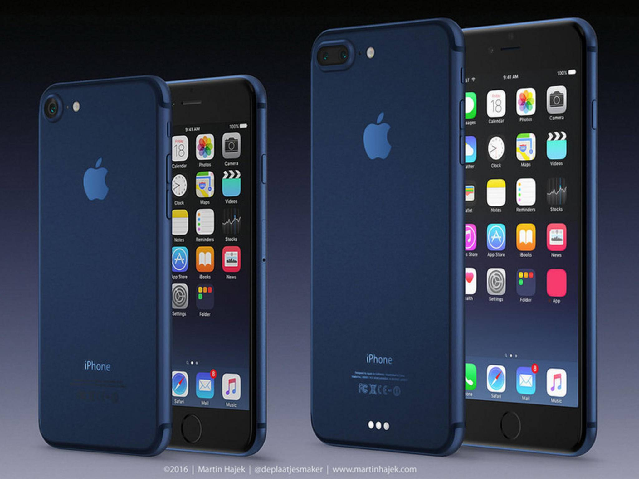 Martin Hajek zeigt uns, wie iPhone 7 & iPhone 7 Plus in Deep Blue aussehen könnten.